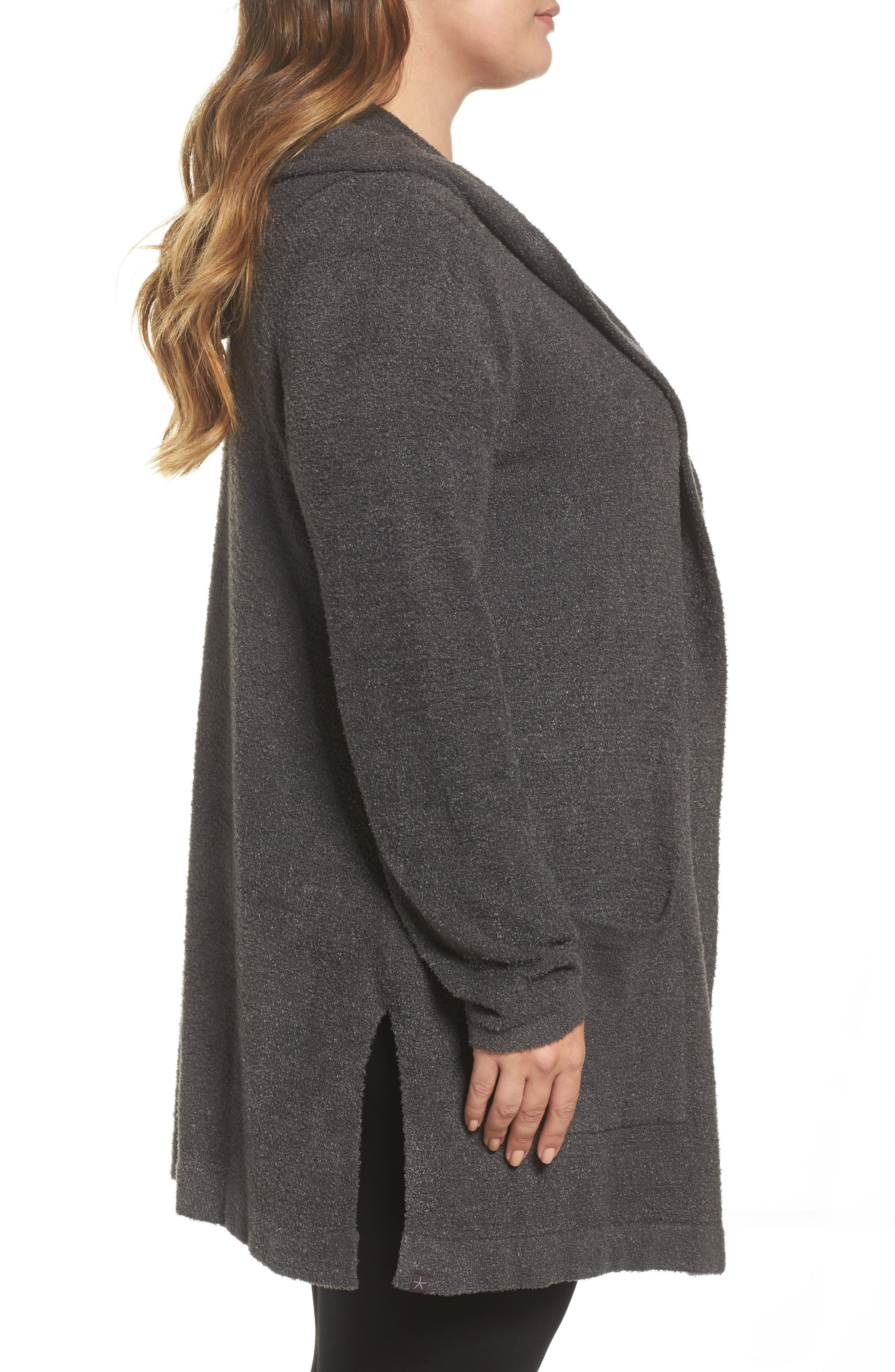 BAREFOOT DREAMS<SUP>®</SUP>, Cozychic Lite<sup>®</sup> Coastal Hooded Cardigan, Alternate thumbnail 3, color, CARBON