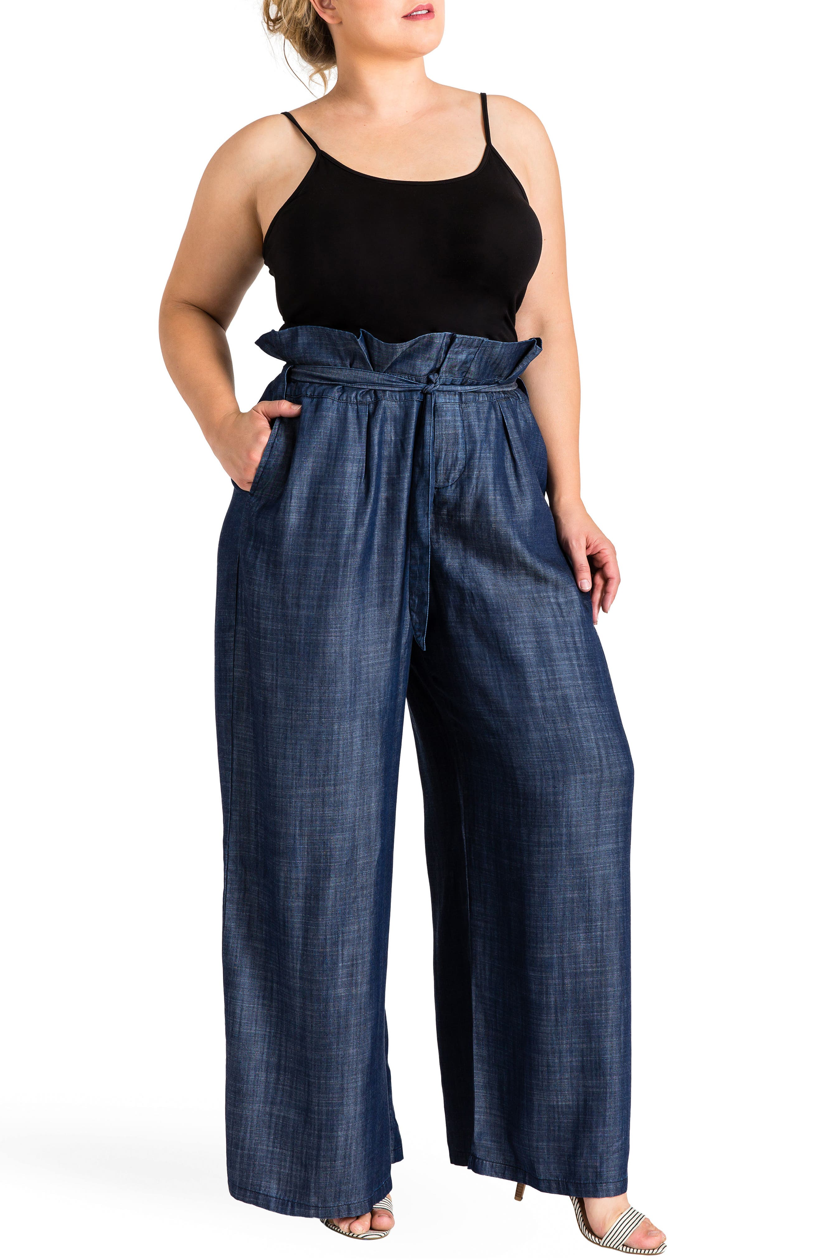 STANDARDS & PRACTICES, Cleo Wide Leg Pants, Alternate thumbnail 4, color, DARK BLUE