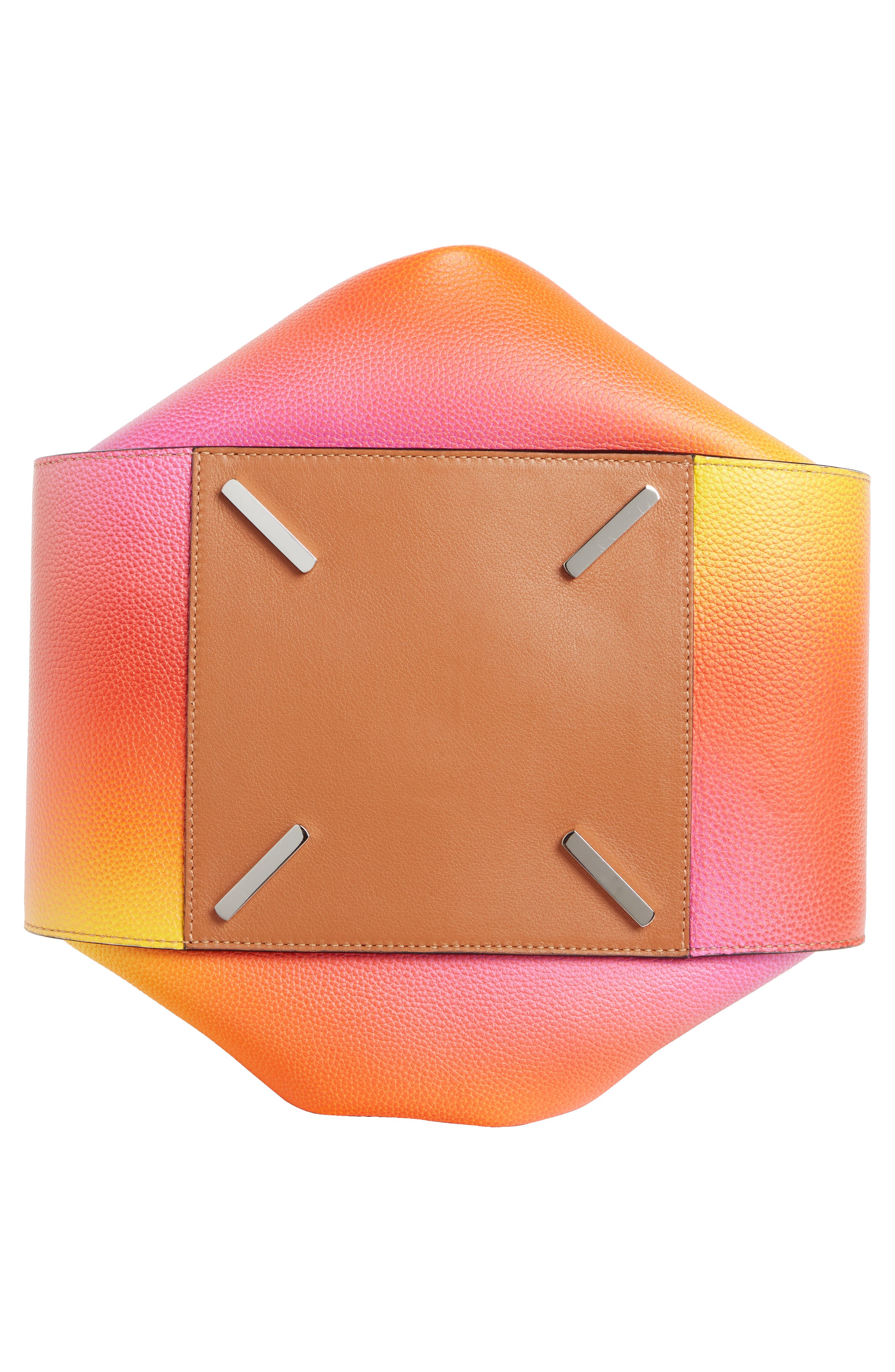 LOEWE, Medium Ombré Leather Hobo, Alternate thumbnail 5, color, ORANGE SUNSET