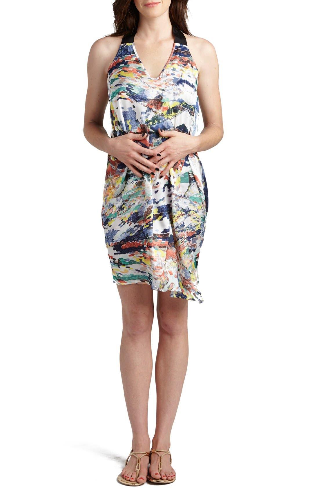 LOYAL HANA, 'Claudia' Maternity/Nursing Shift Dress, Main thumbnail 1, color, MULTI HONEYCOMB