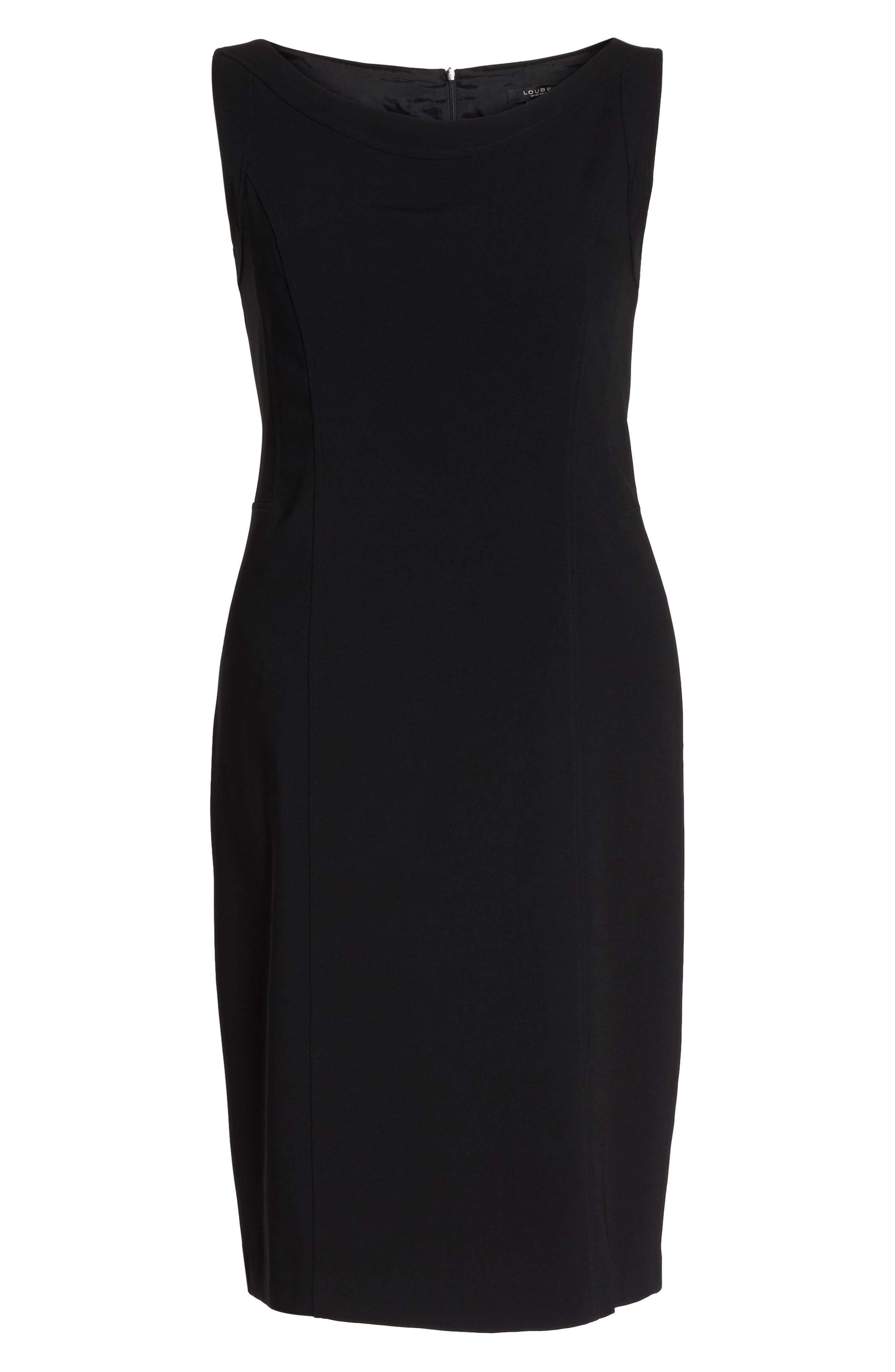 LOUBEN, Sleeveless Suiting Sheath Dress, Alternate thumbnail 4, color, BLACK
