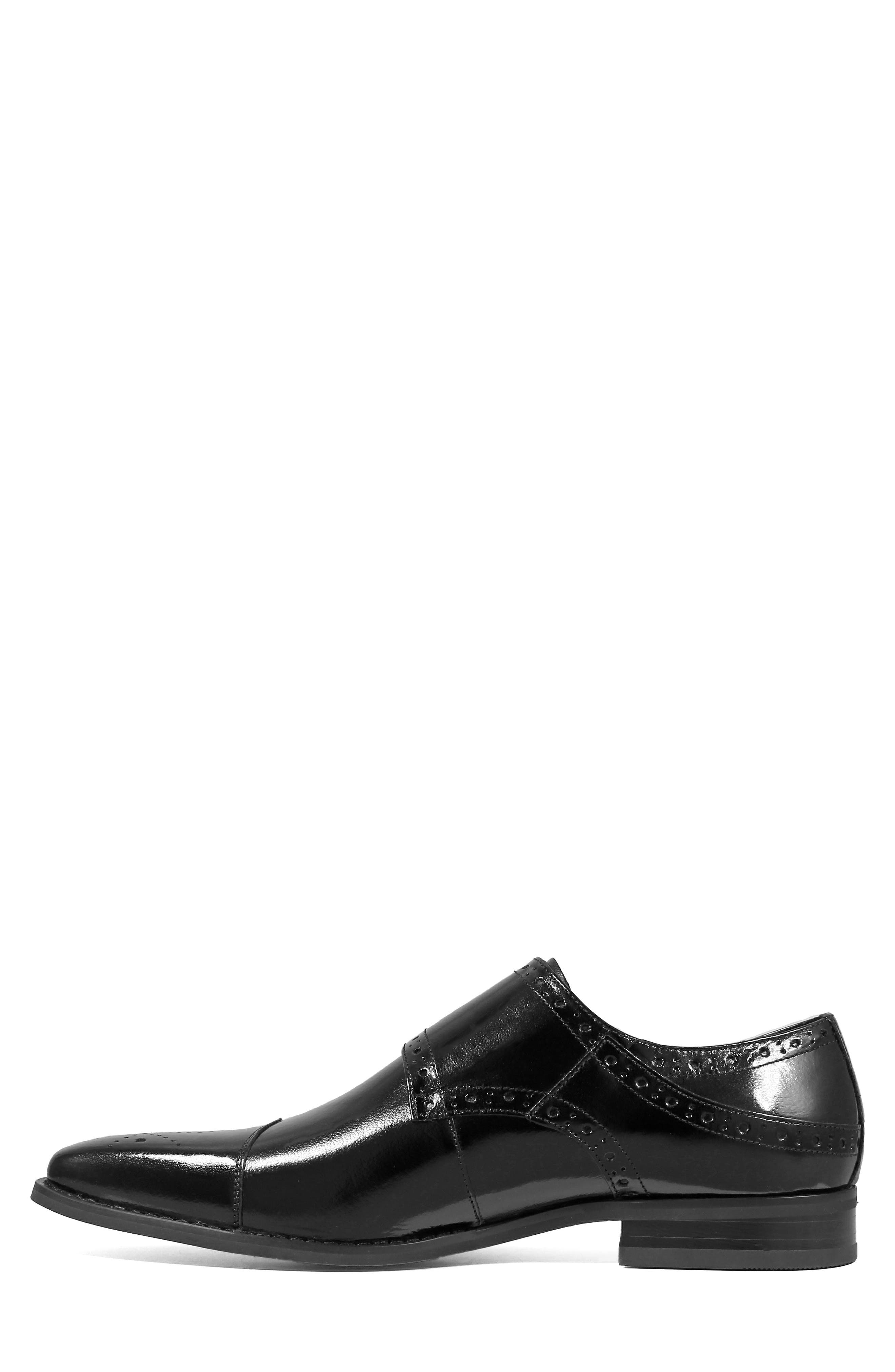 STACY ADAMS, Tayton Cap Toe Double Strap Monk Shoe, Alternate thumbnail 7, color, BLACK LEATHER