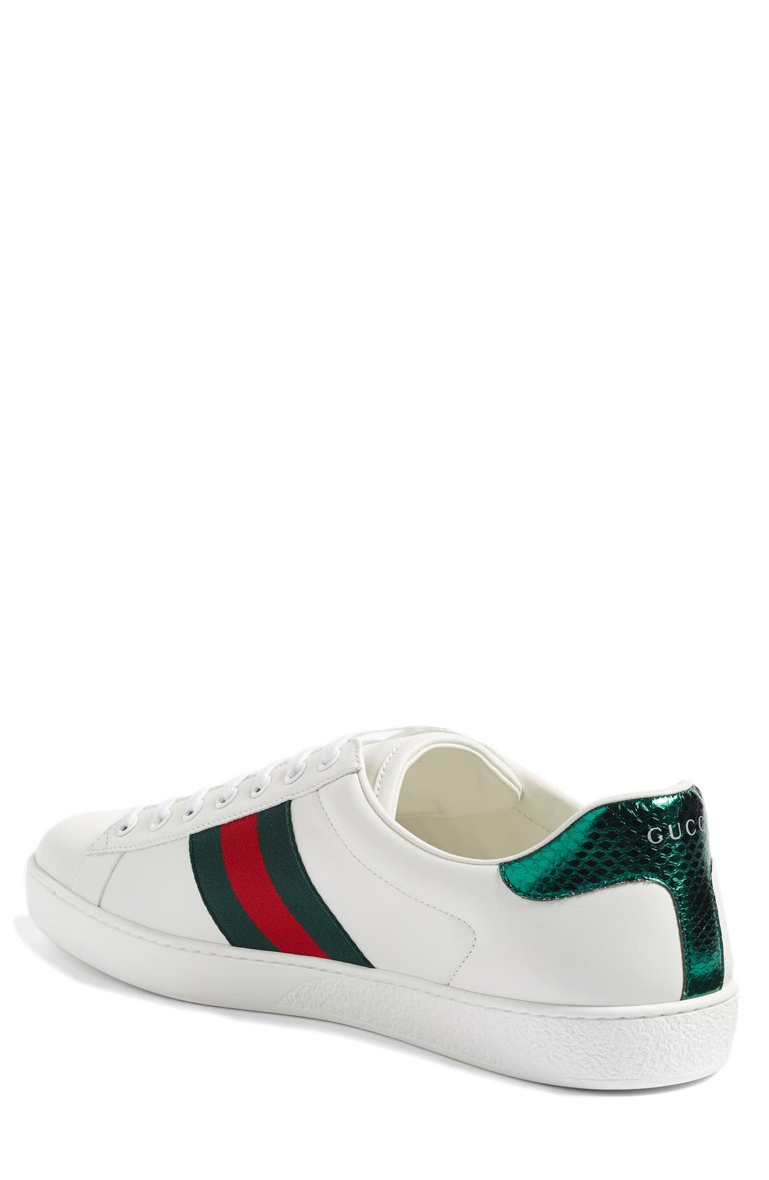GUCCI, 'New Ace' Sneaker, Alternate thumbnail 3, color, BIANCO LEATHER