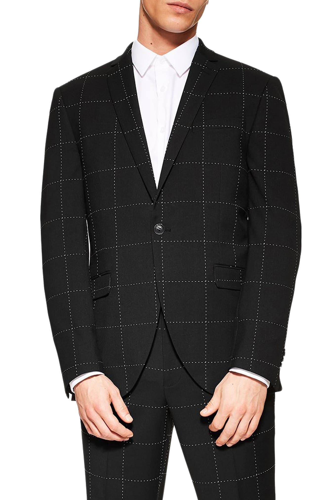 TOPMAN, Slim Fit Topstitch Suit Jacket, Main thumbnail 1, color, BLACK