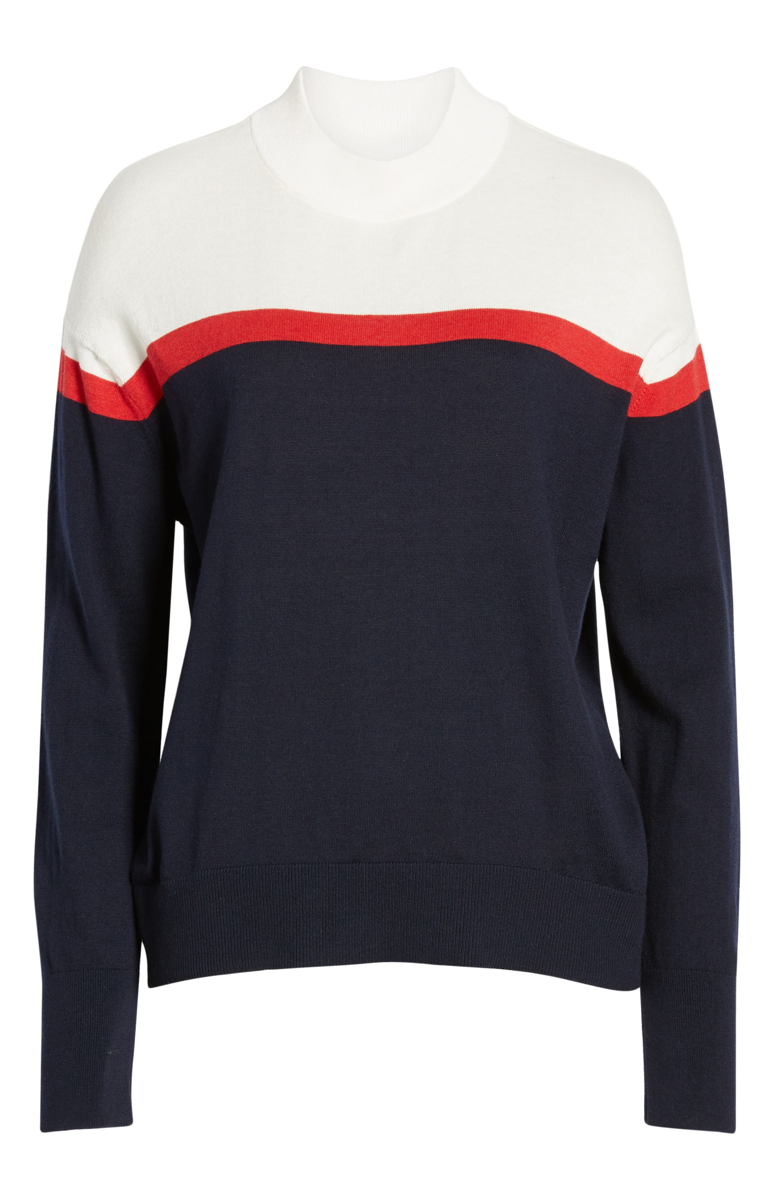 VELVET BY GRAHAM & SPENCER, Stripe Mock Neck Cotton & Cashmere Sweater, Alternate thumbnail 6, color, MULTI