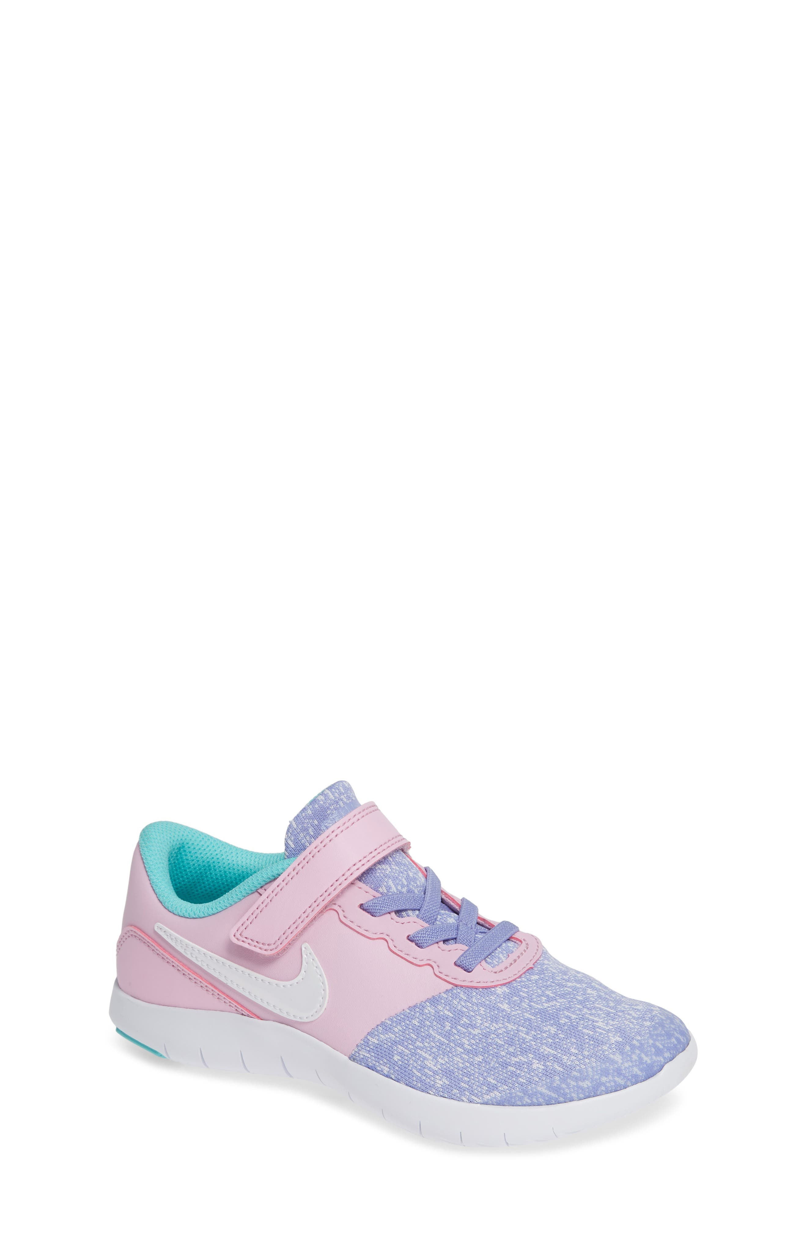 NIKE, Flex Contact Running Shoe, Main thumbnail 1, color, TWILIGHT PULSE WHITE AQUA