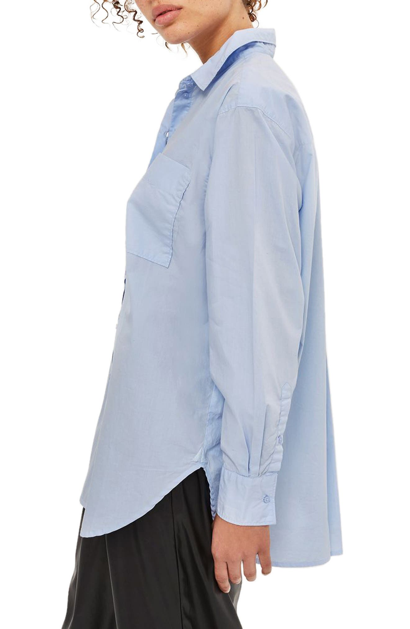 TOPSHOP, Olly Oversized Poplin Shirt, Alternate thumbnail 3, color, 450