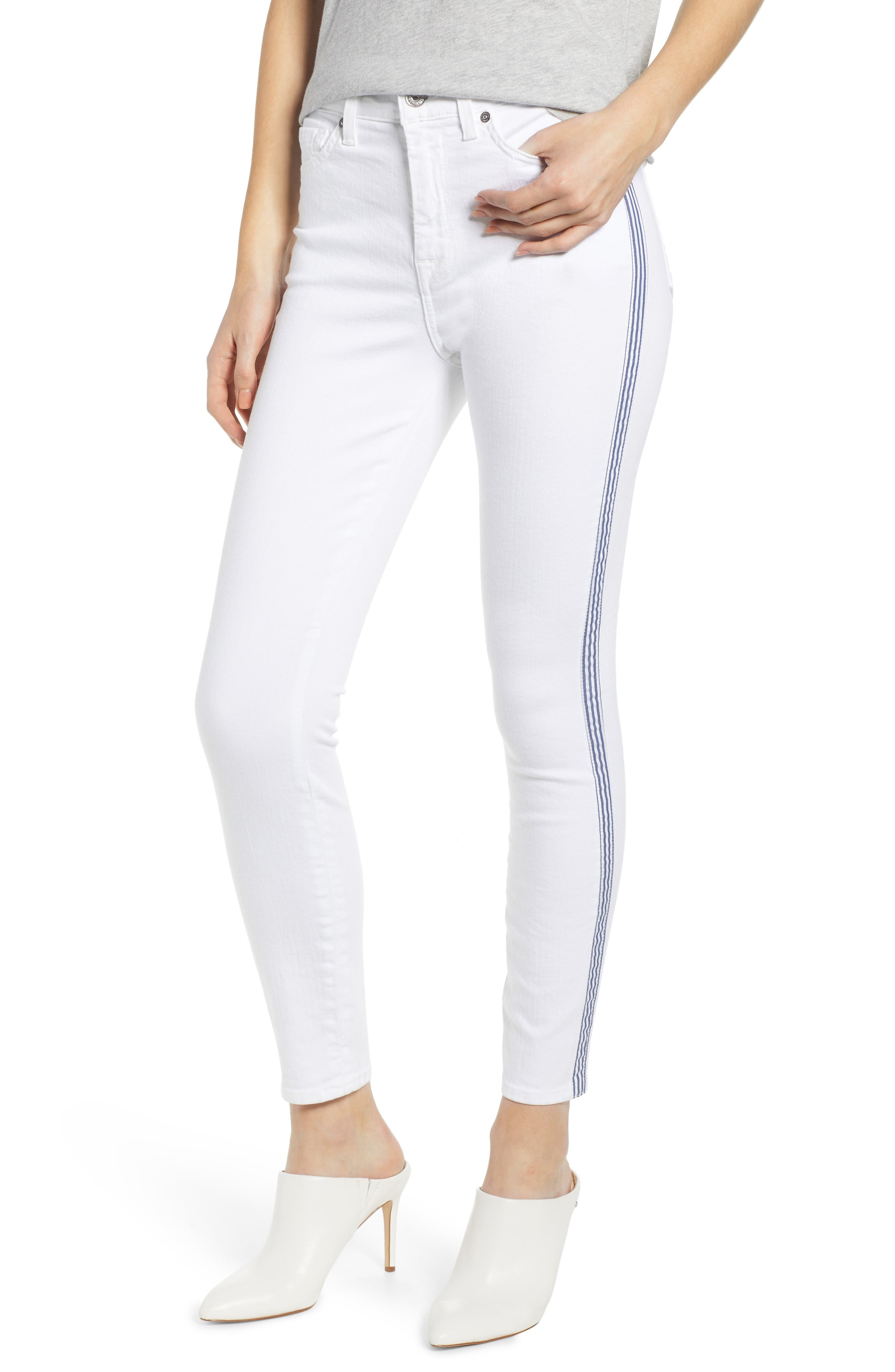 7 FOR ALL MANKIND<SUP>®</SUP>, Side Stripe High Waist Ankle Skinny Jeans, Main thumbnail 1, color, WHITE RUNWAY DENIM