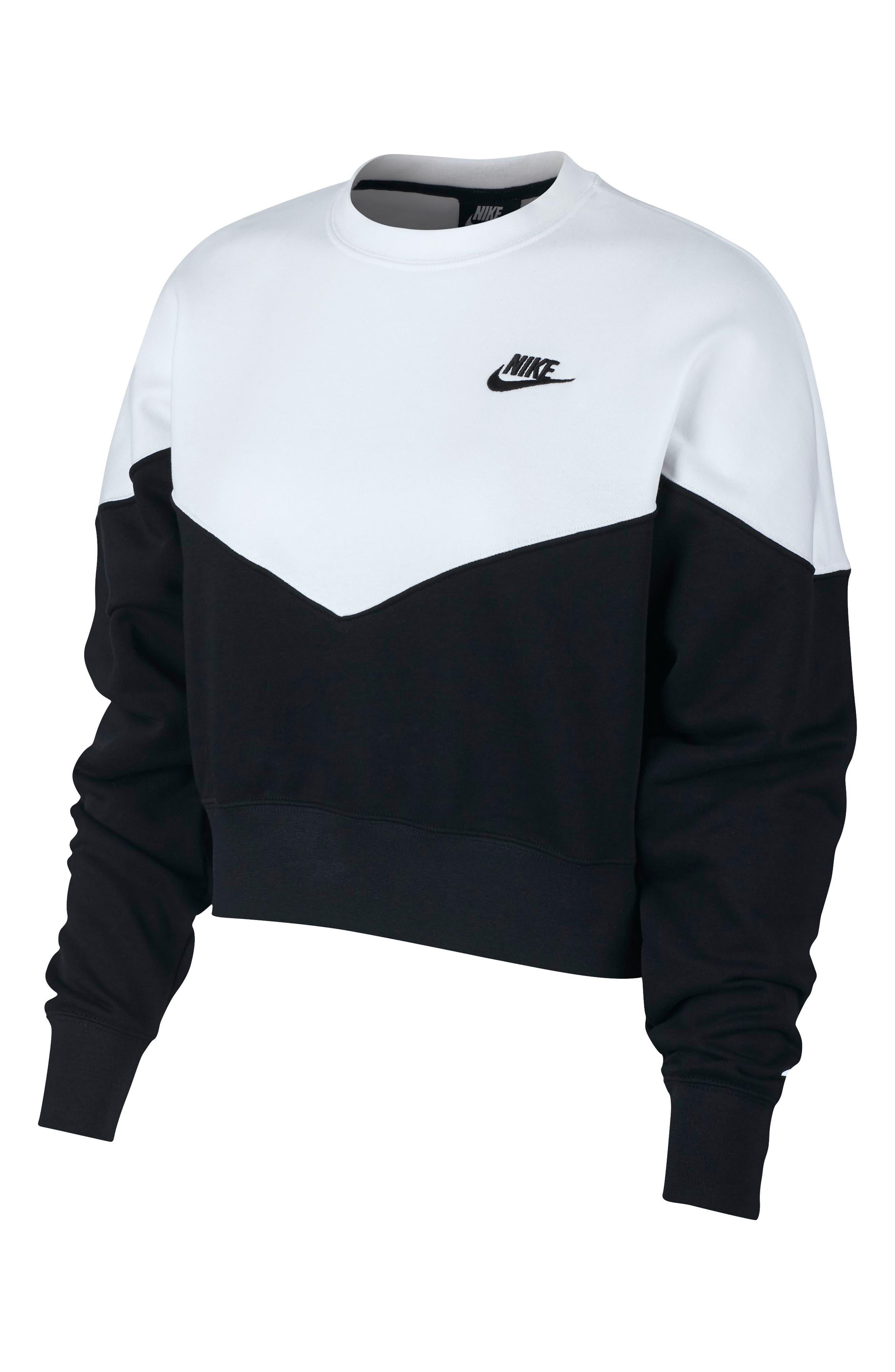 NIKE, Sportswear Heritage Fleece Sweatshirt, Main thumbnail 1, color, BLACK/ WHITE/ BLACK