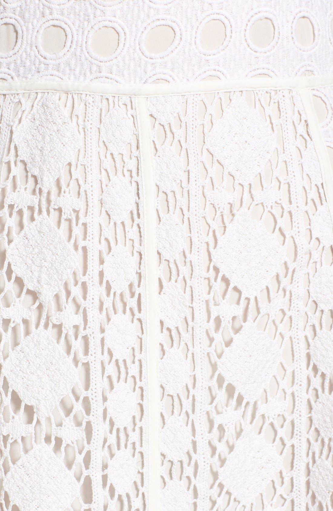 OLIVIA PALERMO + CHELSEA28, Patchwork Lace Midi Dress, Alternate thumbnail 4, color, 100