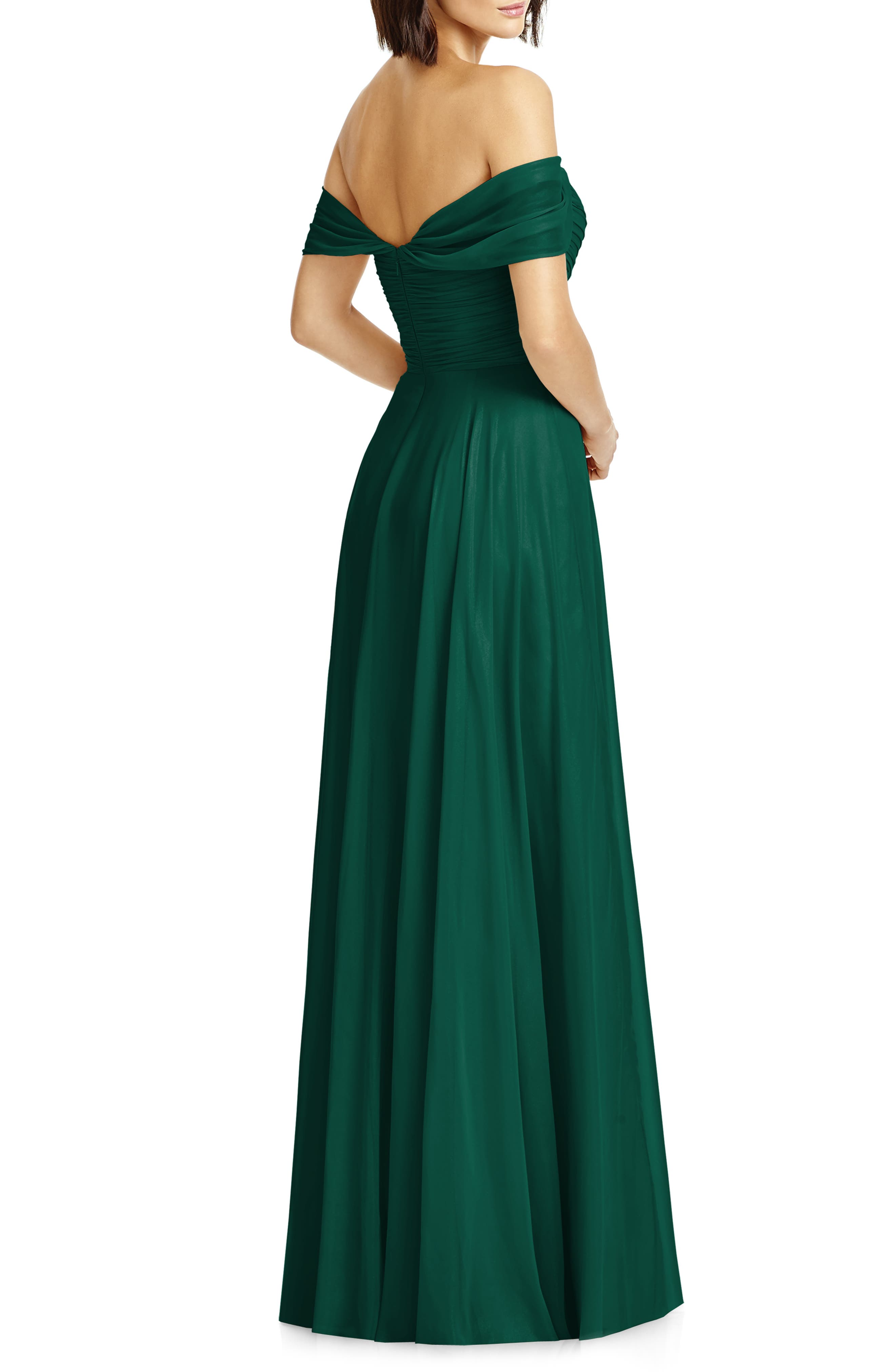 DESSY COLLECTION, Lux Ruched Off the Shoulder Chiffon Gown, Alternate thumbnail 2, color, HUNTER
