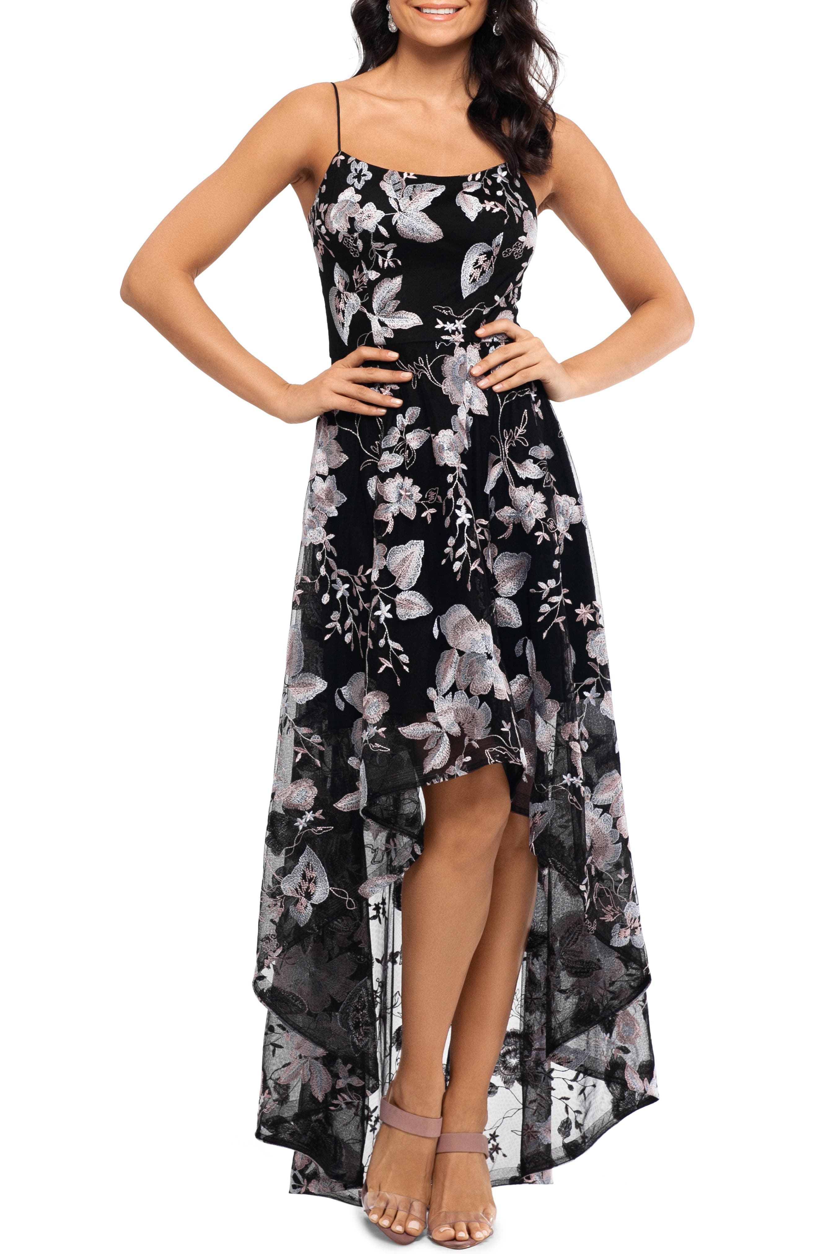 Xscape Floral Embroidery High/low Cocktail Dress, Black