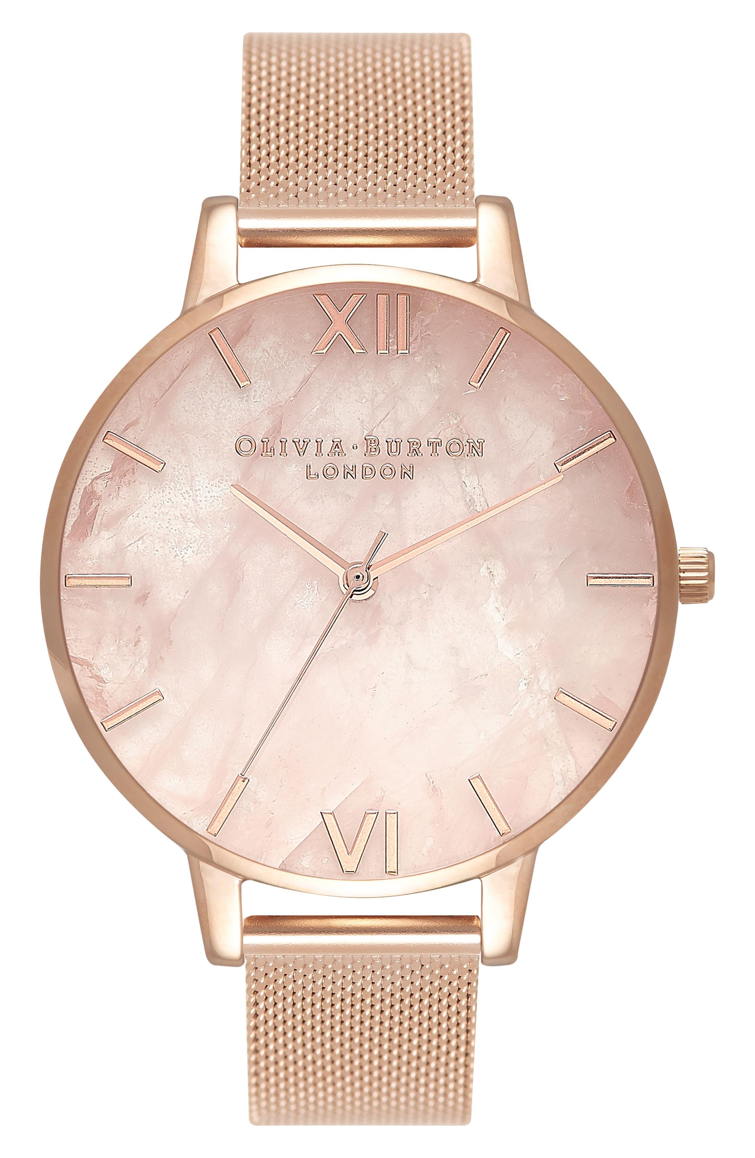 OLIVIA BURTON, Mesh Strap Watch, 38mm, Main thumbnail 1, color, ROSE GOLD