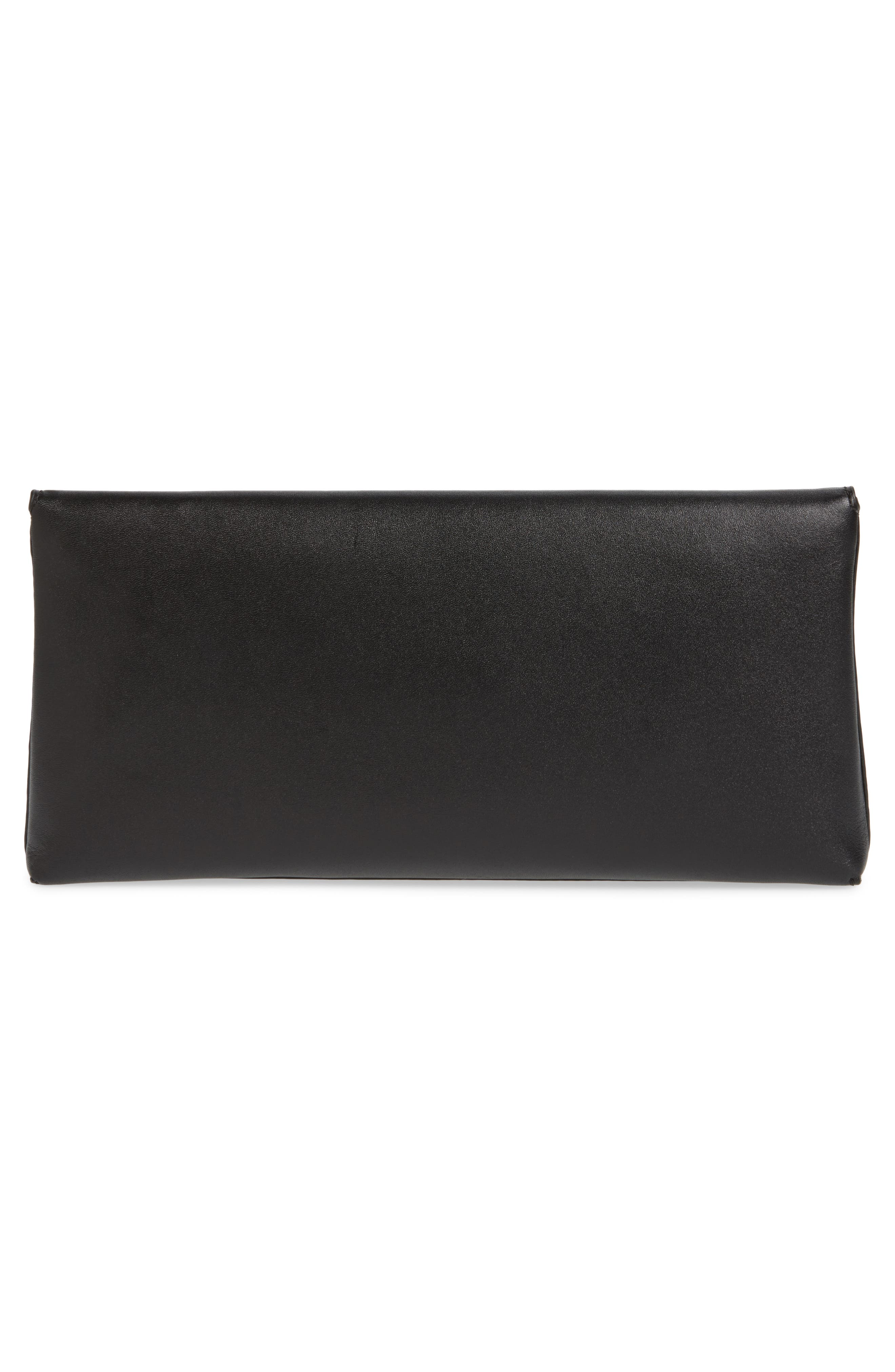TORY BURCH, Miller Leather Clutch, Alternate thumbnail 4, color, BLACK