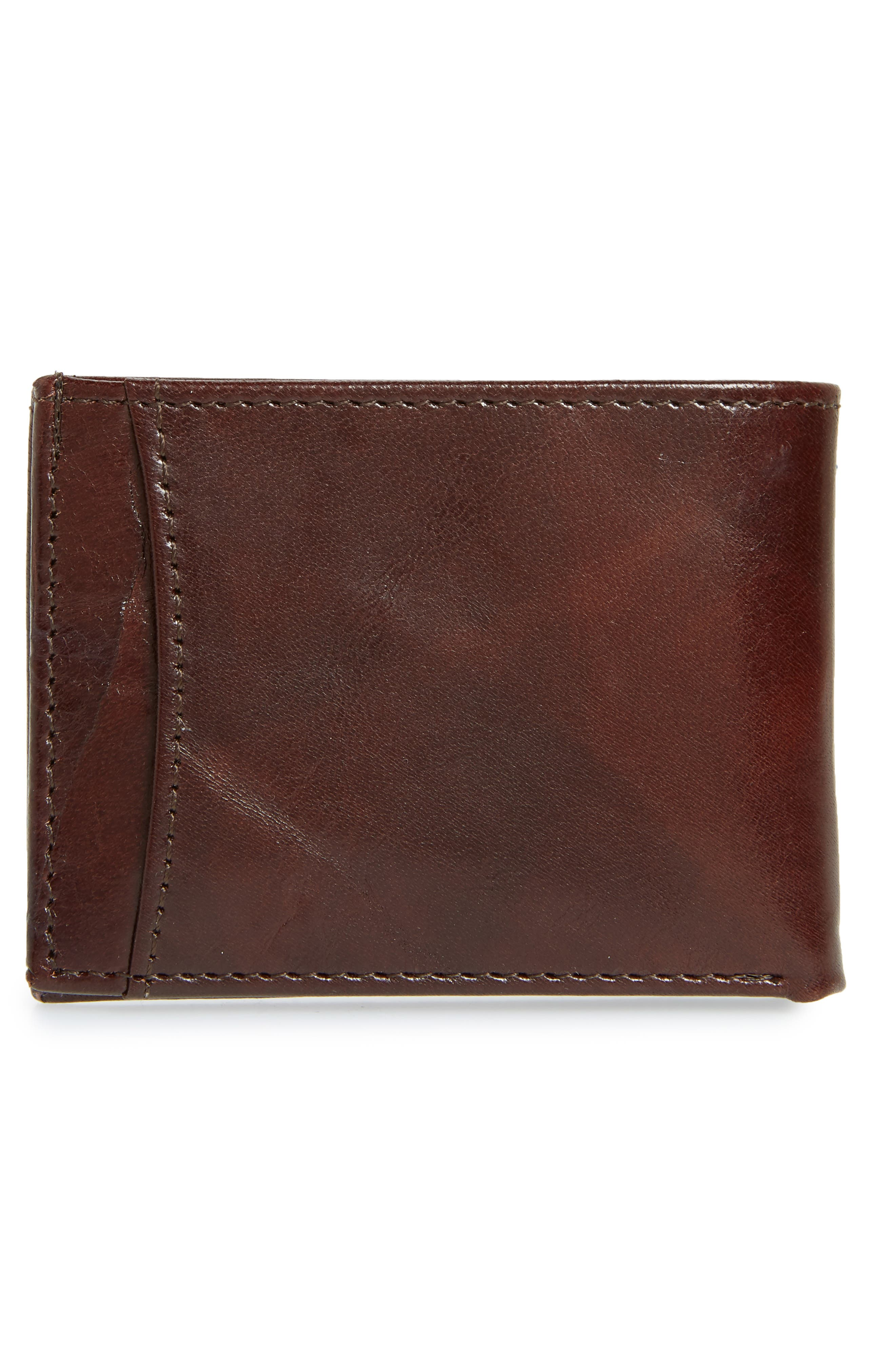 JOHNSTON & MURPHY, Leather Wallet, Alternate thumbnail 3, color, BROWN