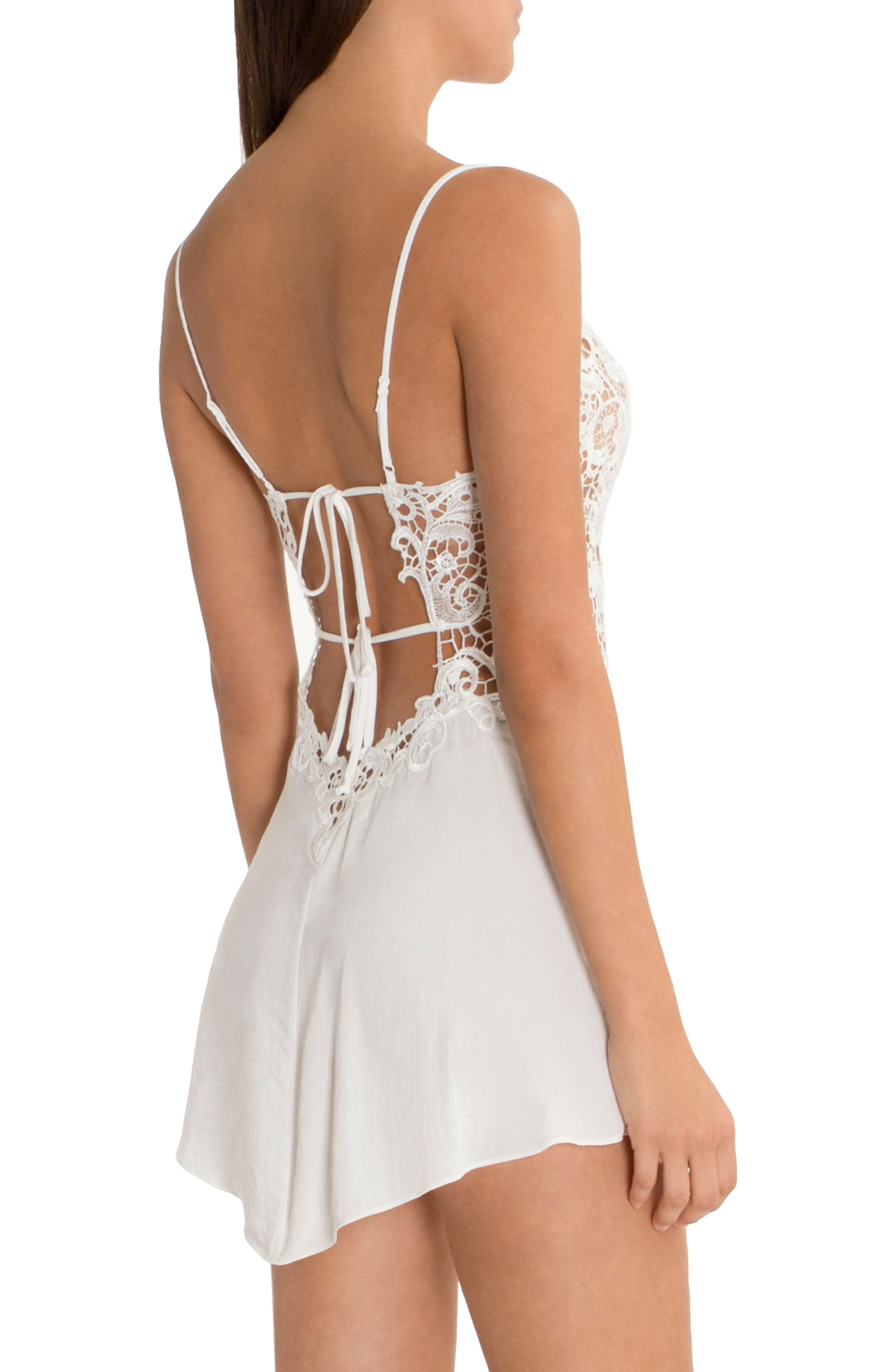 IN BLOOM BY JONQUIL, Lace & Satin Chemise, Alternate thumbnail 2, color, IVORY