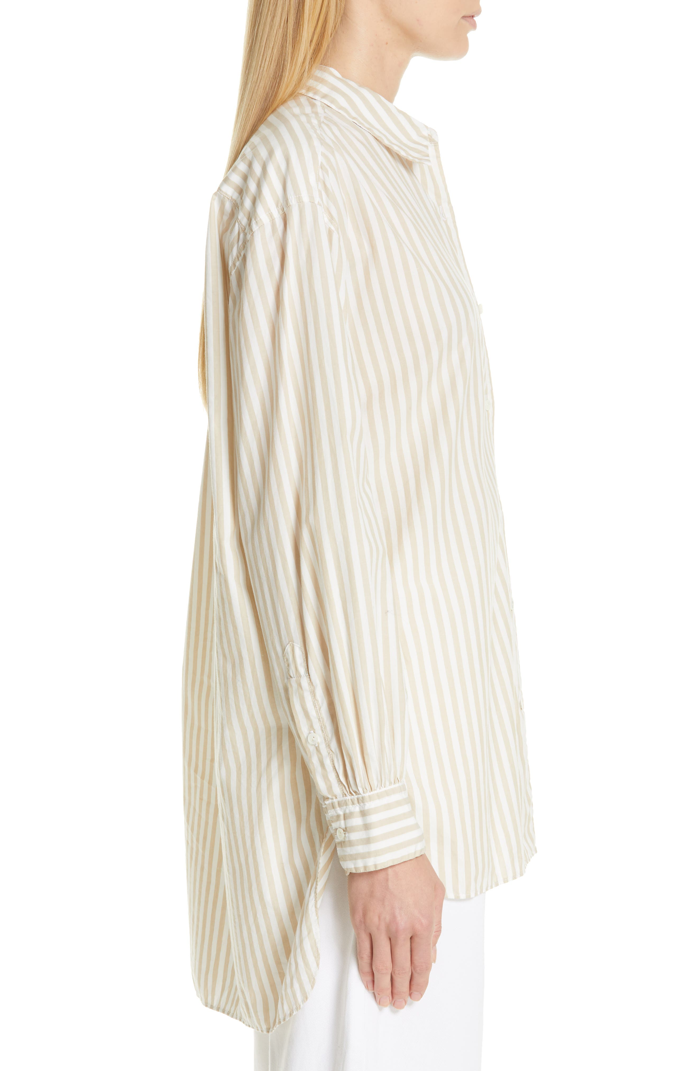 NILI LOTAN, Noa Stripe Shirt, Alternate thumbnail 3, color, TAN STRIPE