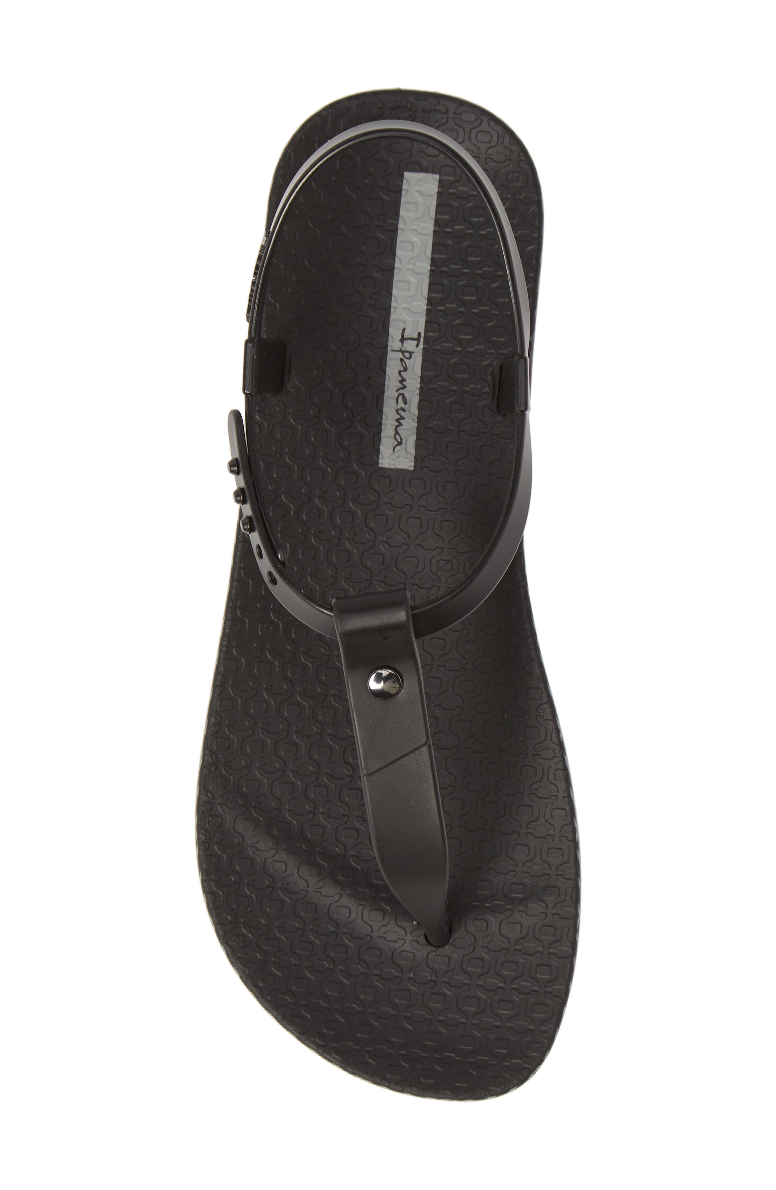 IPANEMA, Plush Weave T-Strap Sandal, Alternate thumbnail 5, color, BLACK
