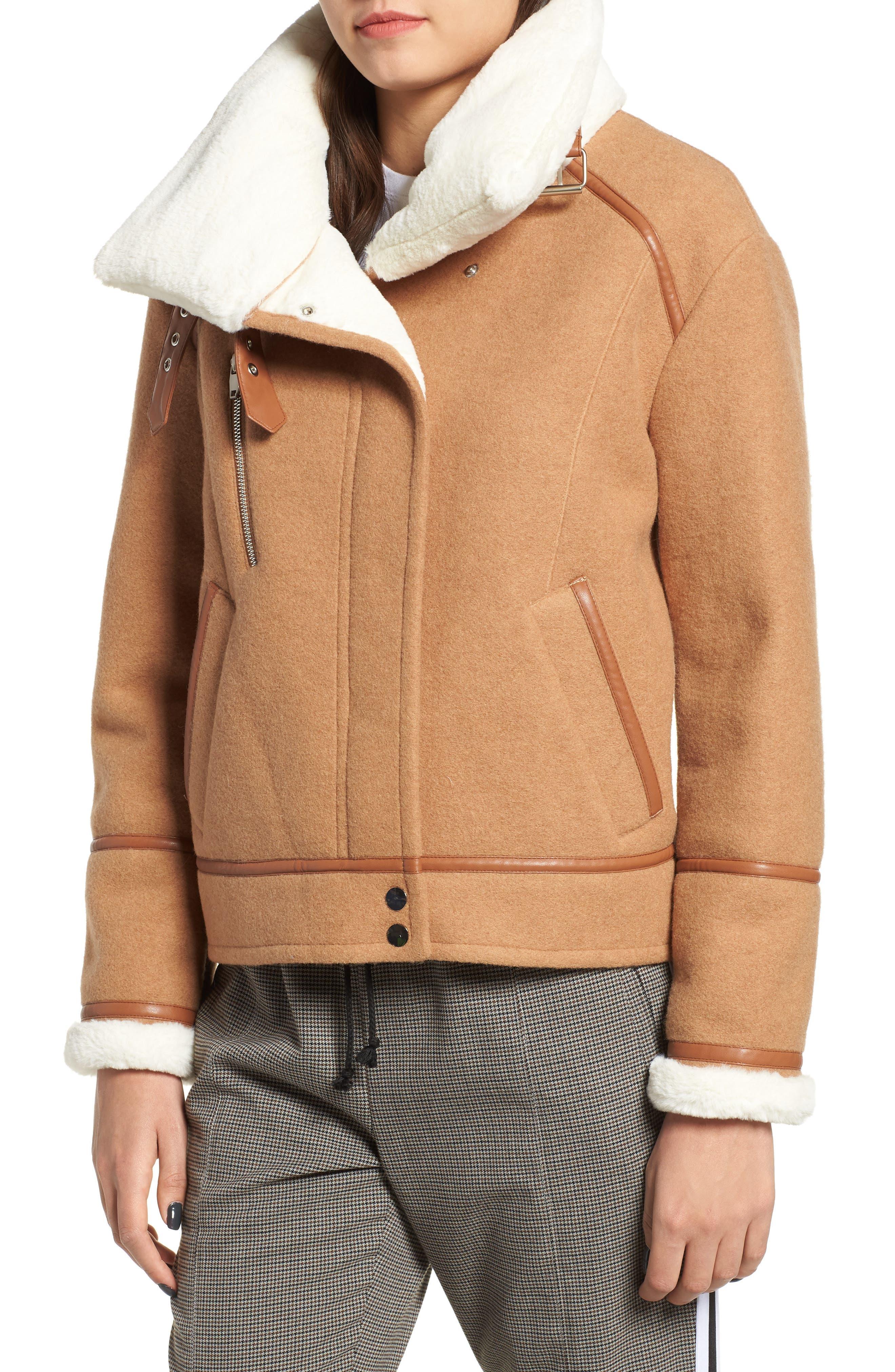 NVLT, Brushed Melton Wool Blend Jacket, Alternate thumbnail 5, color, CAMEL/ CREAM