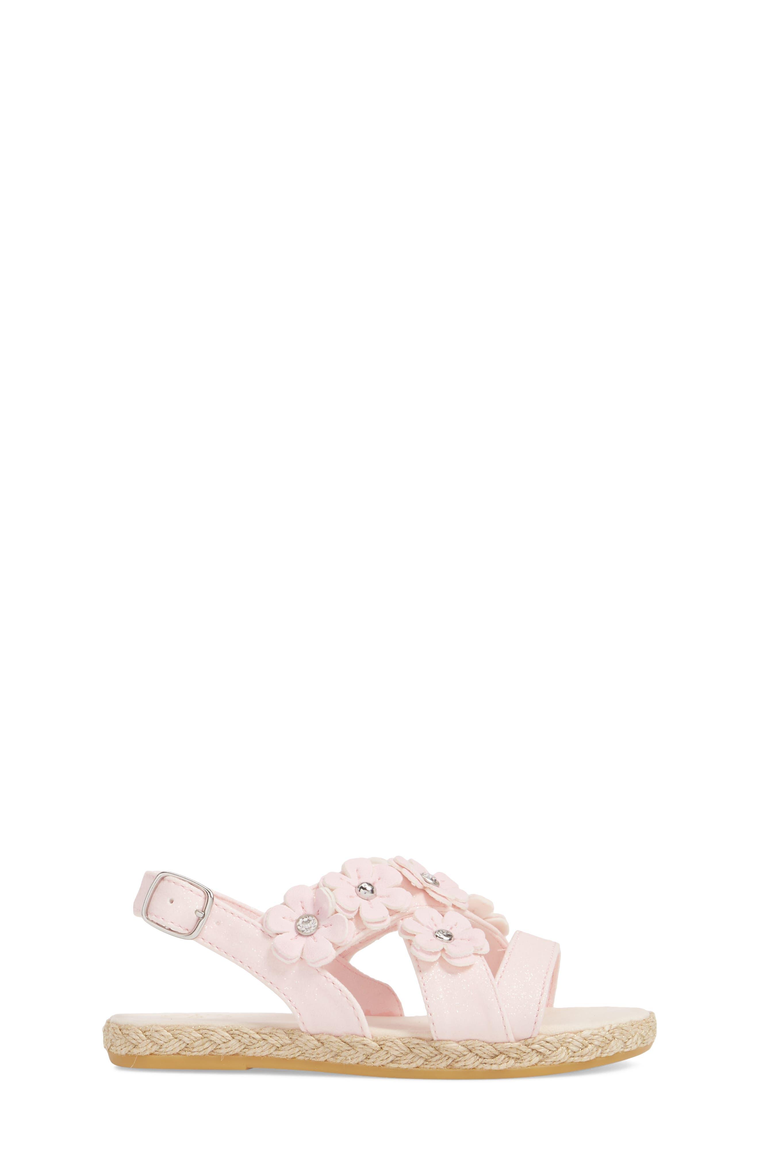 UGG<SUP>®</SUP>, Allairey Sparkles Espadrille Sandal, Alternate thumbnail 3, color, SEASHELL PINK