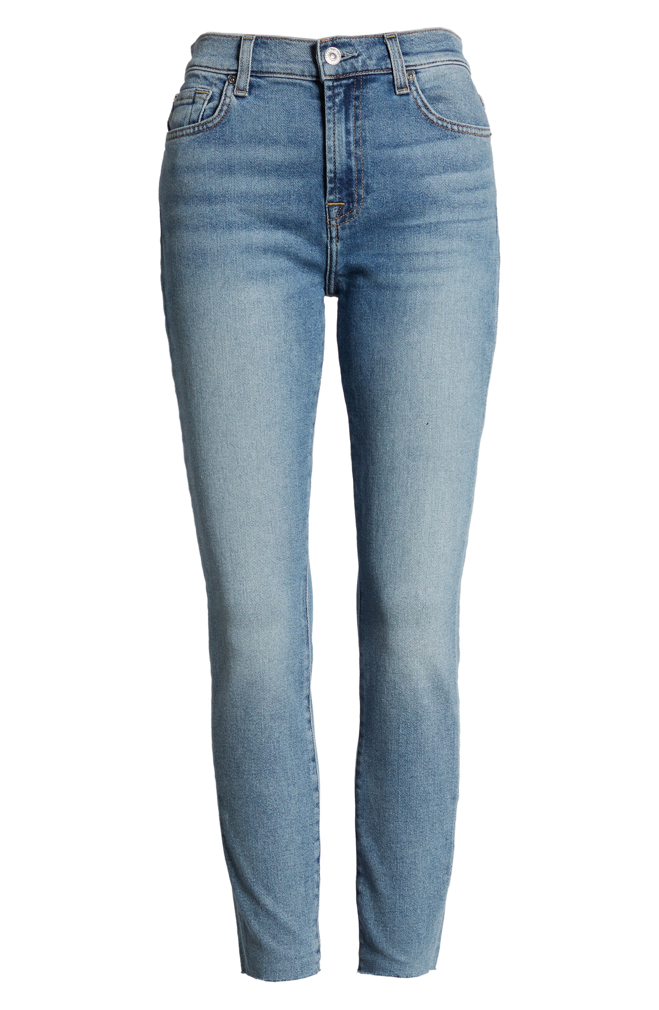 7 FOR ALL MANKIND<SUP>®</SUP>, High Waist Ankle Skinny Jeans, Alternate thumbnail 7, color, LUXE VINTAGE FLORA