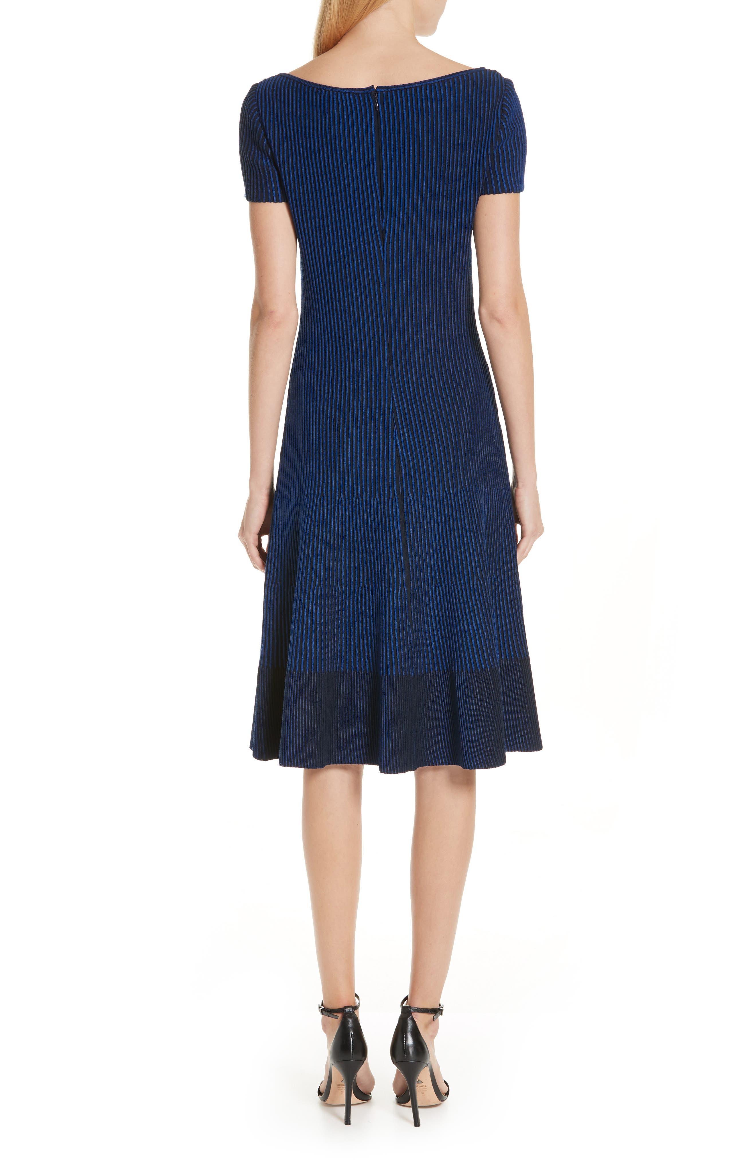 ST. JOHN COLLECTION, Ottoman Fit & Flare Sweater Dress, Alternate thumbnail 2, color, AZUL/ NAVY MULTI