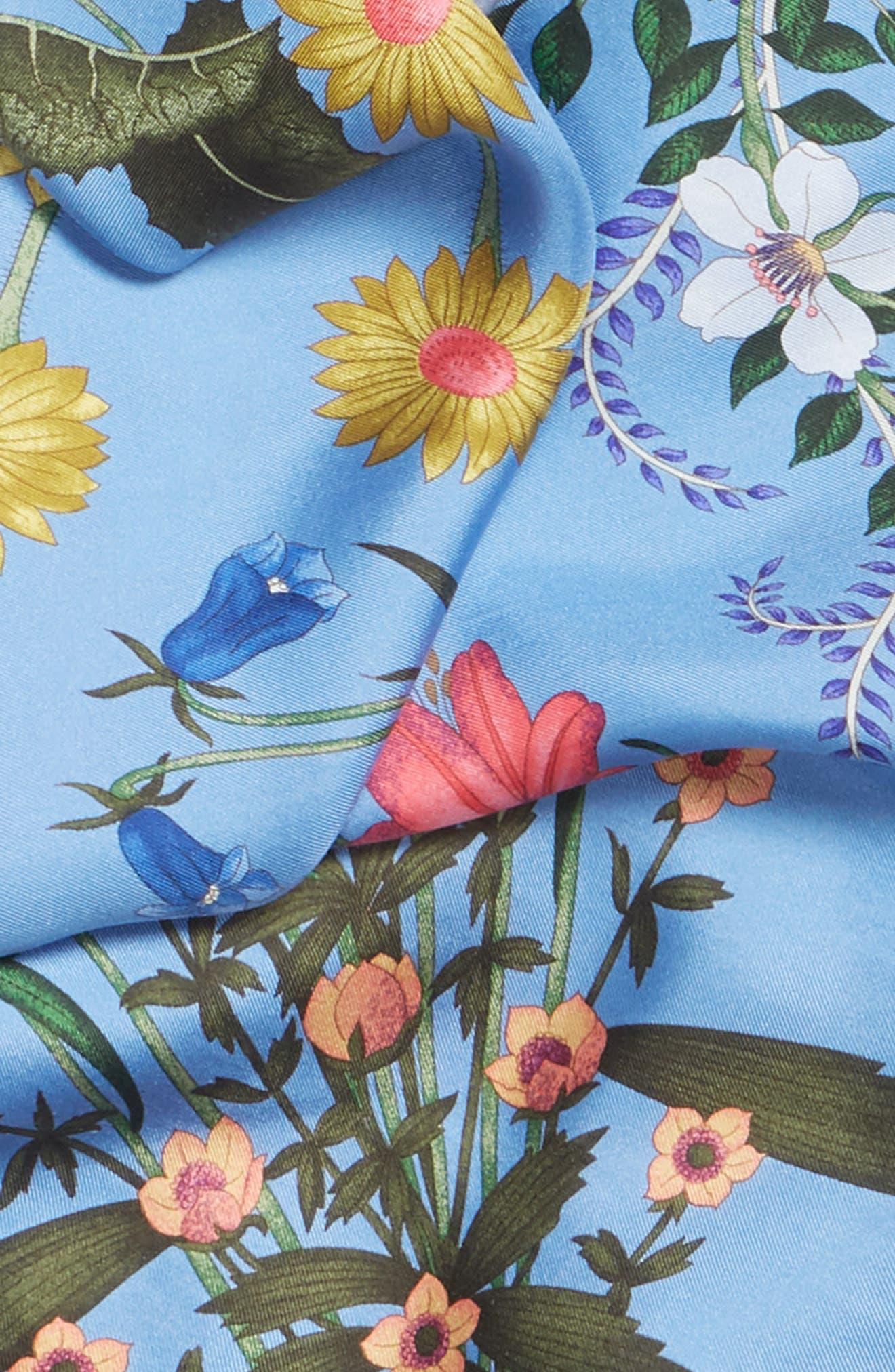 GUCCI, New Flora Foulard Scarf, Alternate thumbnail 4, color, BLUETTE