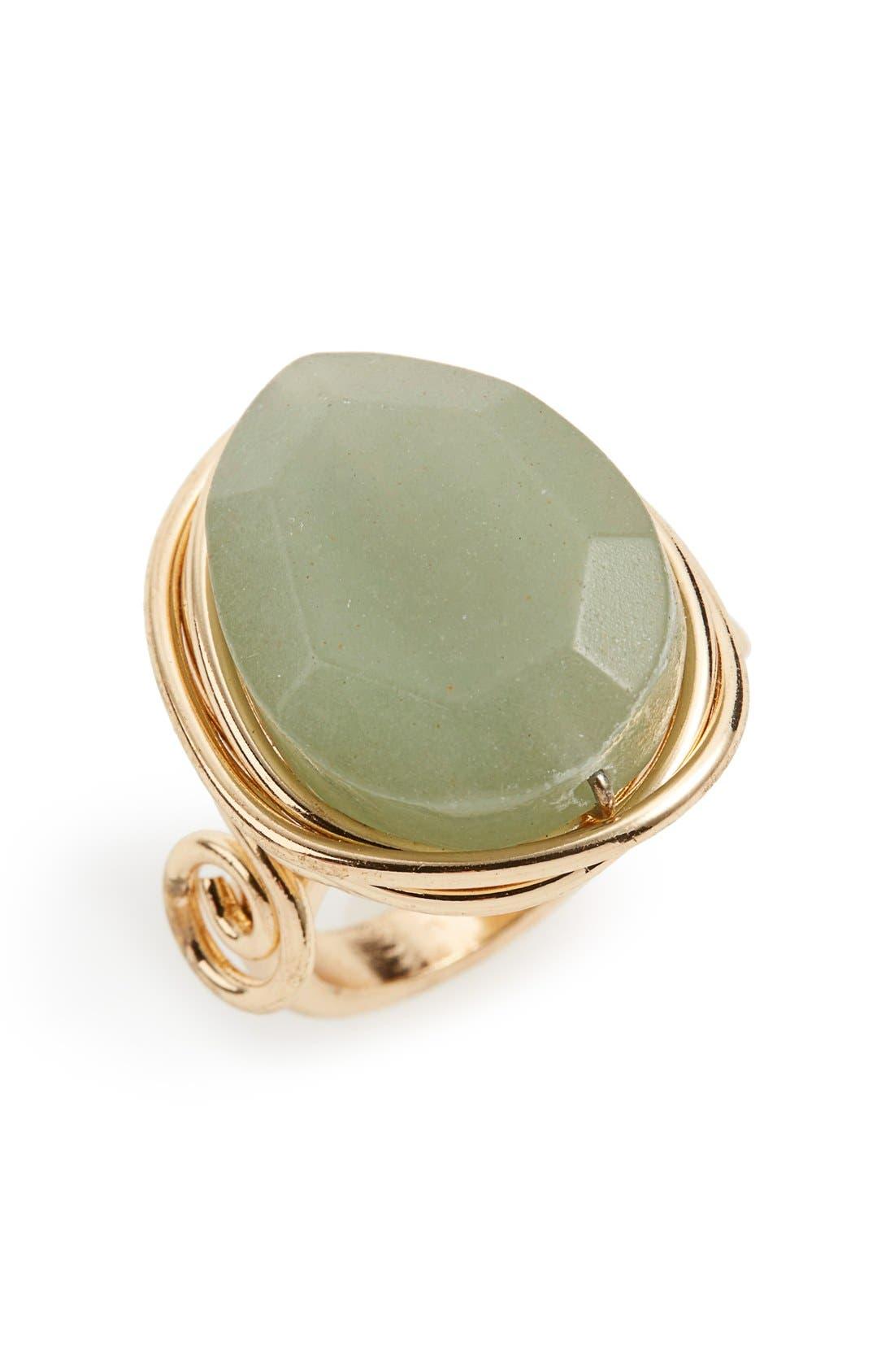 TOPSHOP, Jade Ring, Main thumbnail 1, color, 710