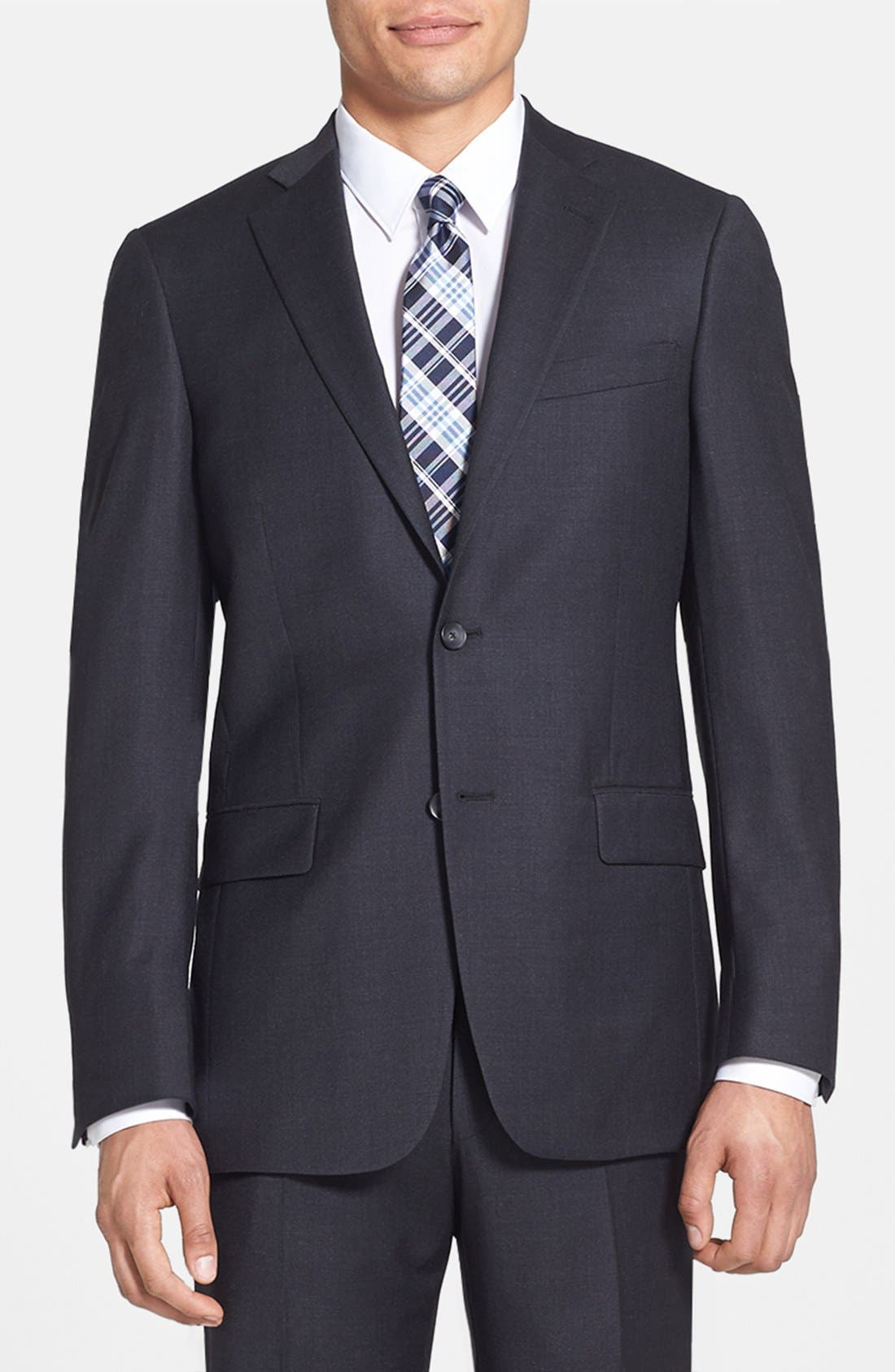 HART SCHAFFNER MARX, New York Classic Fit Solid Stretch Wool Suit, Alternate thumbnail 3, color, GREY