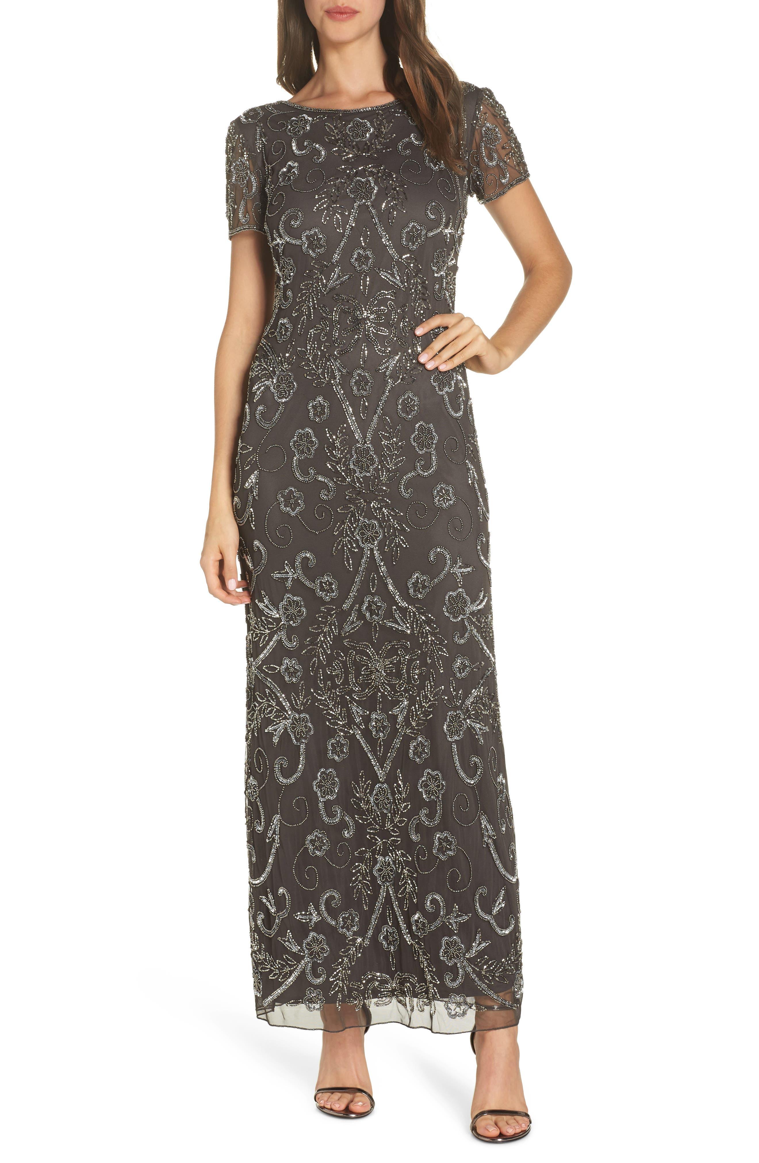 PISARRO NIGHTS, Embellished Mesh Evening Dress, Main thumbnail 1, color, SLIVER / GREY