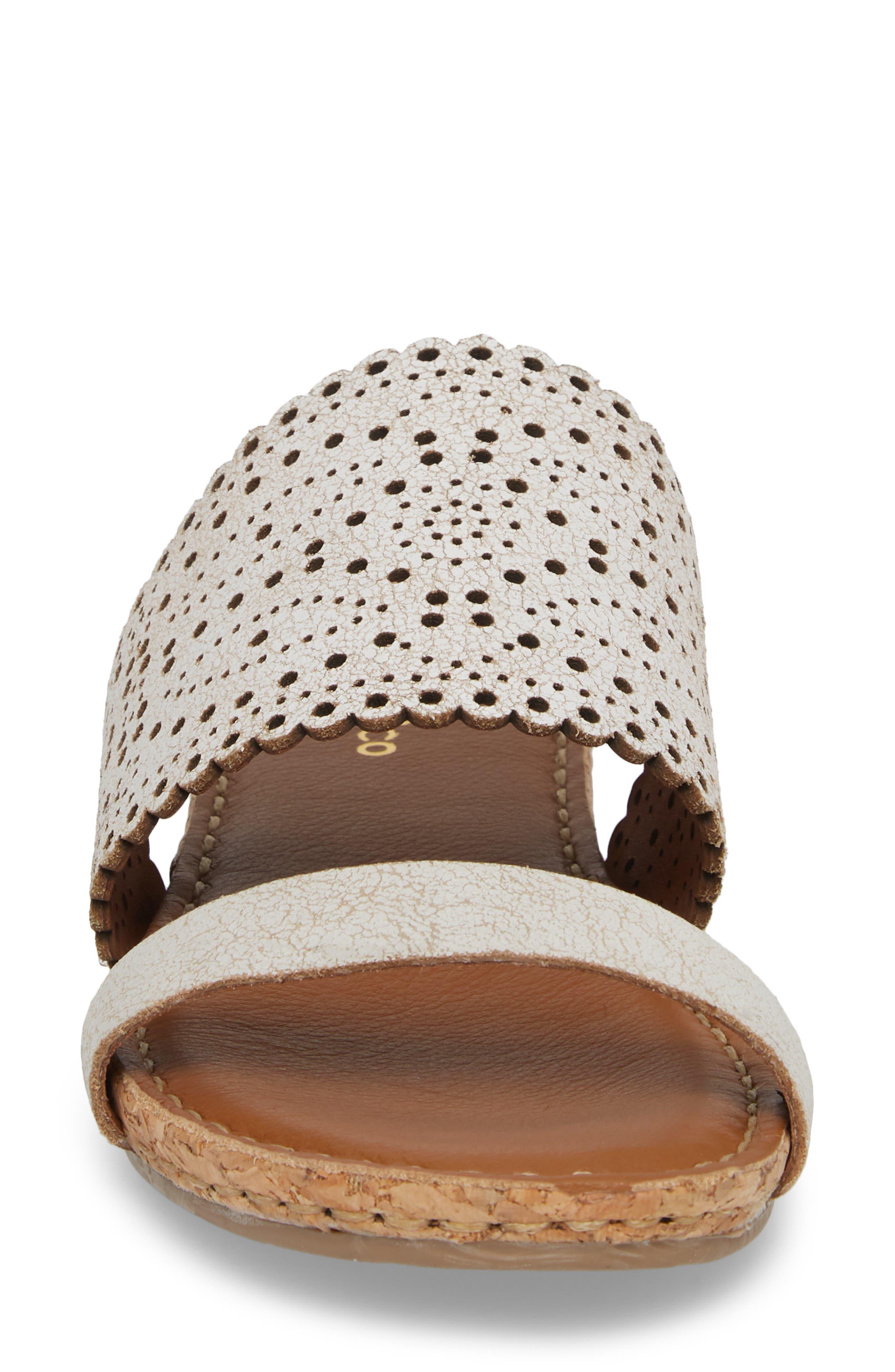 KLUB NICO, Ginette Perforated Slide Sandal, Alternate thumbnail 4, color, WHITE LEATHER