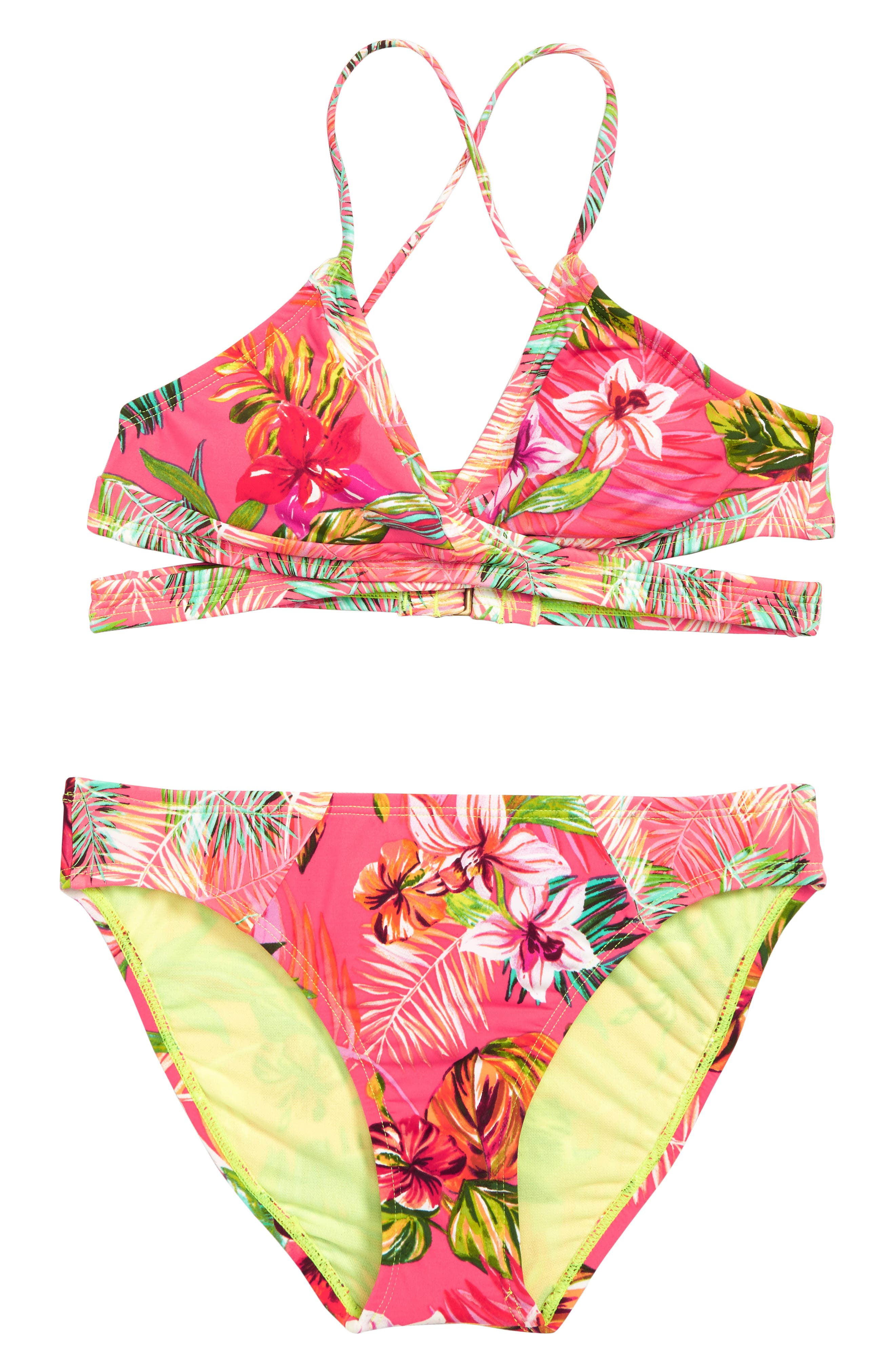 HOBIE, Flor All Nothing Two-Piece Swimsuit, Main thumbnail 1, color, BRIGHT PINK