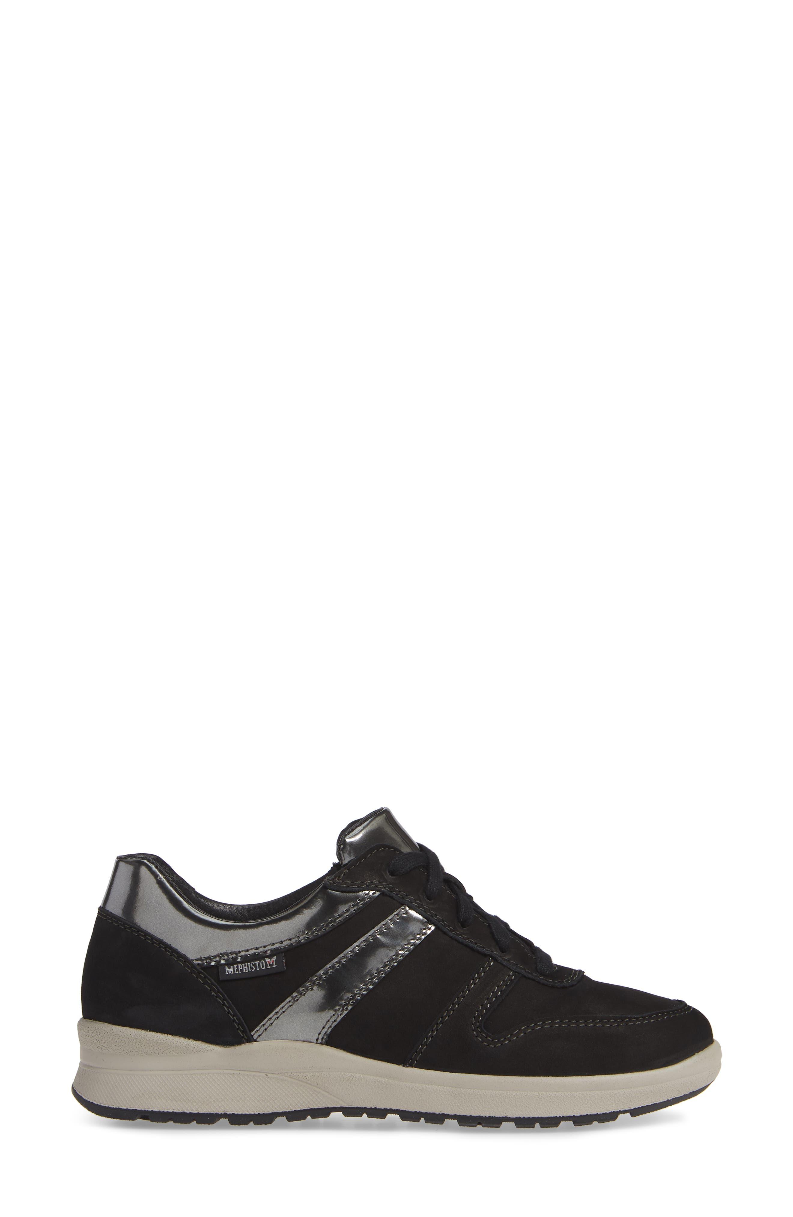 MEPHISTO, Rebeca Sneaker, Alternate thumbnail 3, color, BLACK FABRIC