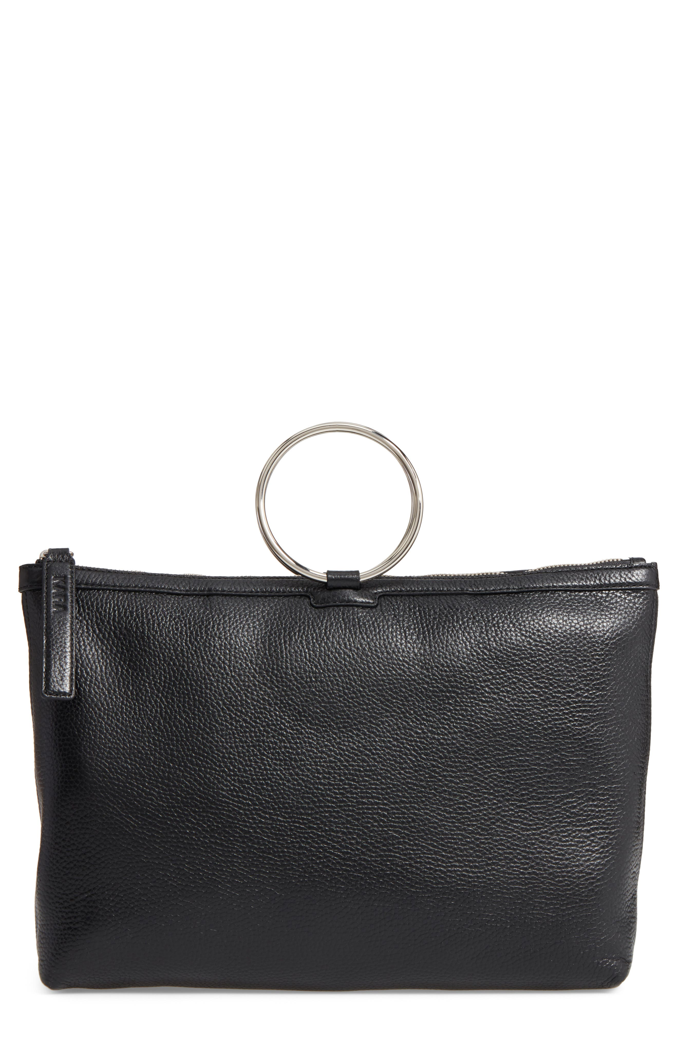 KARA Large Pebbled Leather Ring Clutch, Main, color, 001