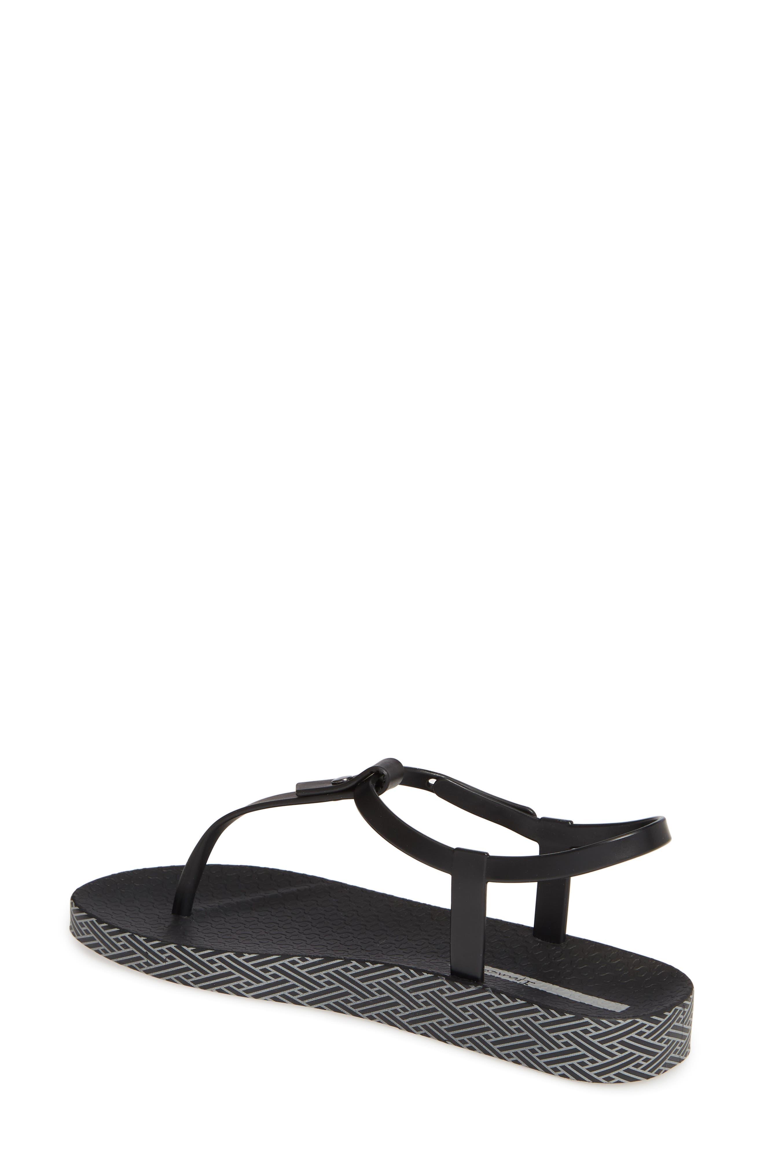 IPANEMA, Plush Weave T-Strap Sandal, Alternate thumbnail 2, color, BLACK