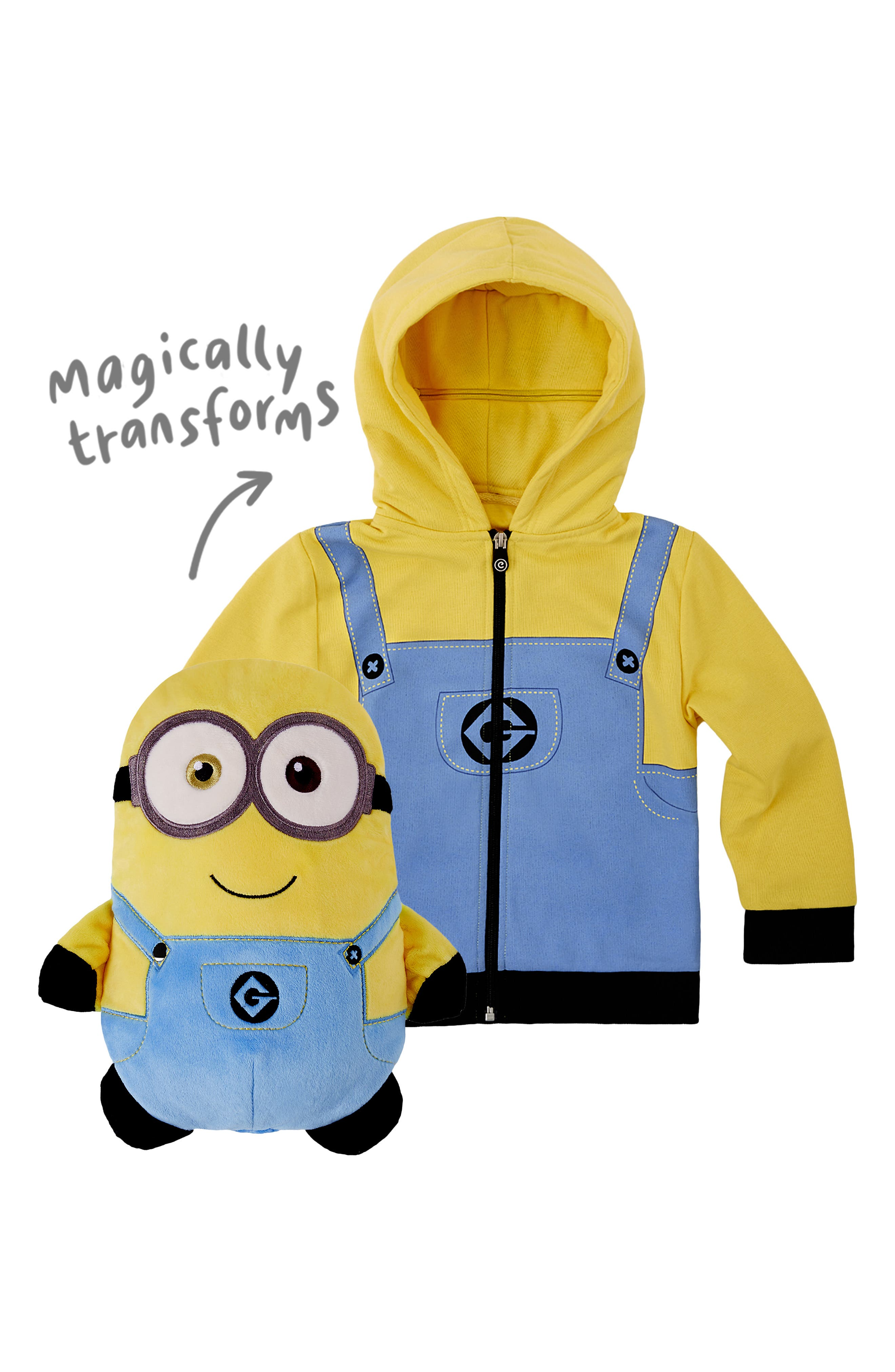 CUBCOATS, Minion Bob<sup>®</sup> 2-in-1 Stuffed Animal Hoodie, Alternate thumbnail 3, color, YELLOW / BLUE MIX