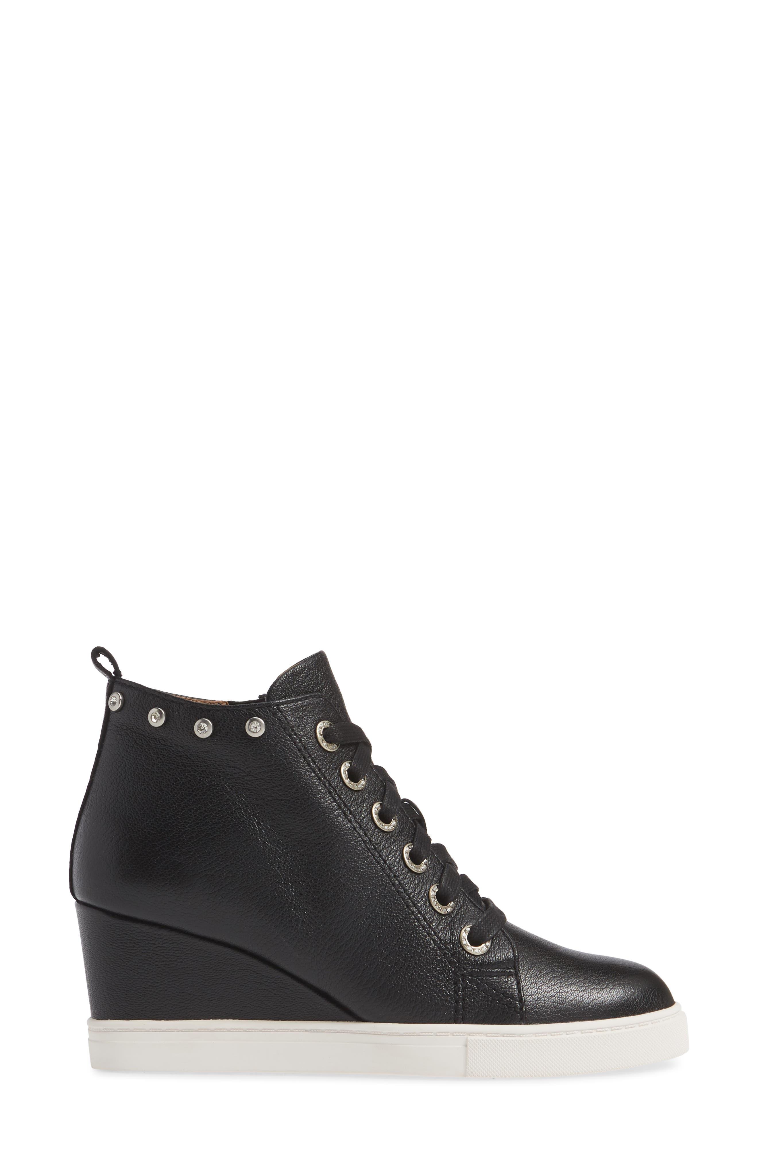 LINEA PAOLO, Flint Wedge Sneaker, Alternate thumbnail 3, color, BLACK LEATHER