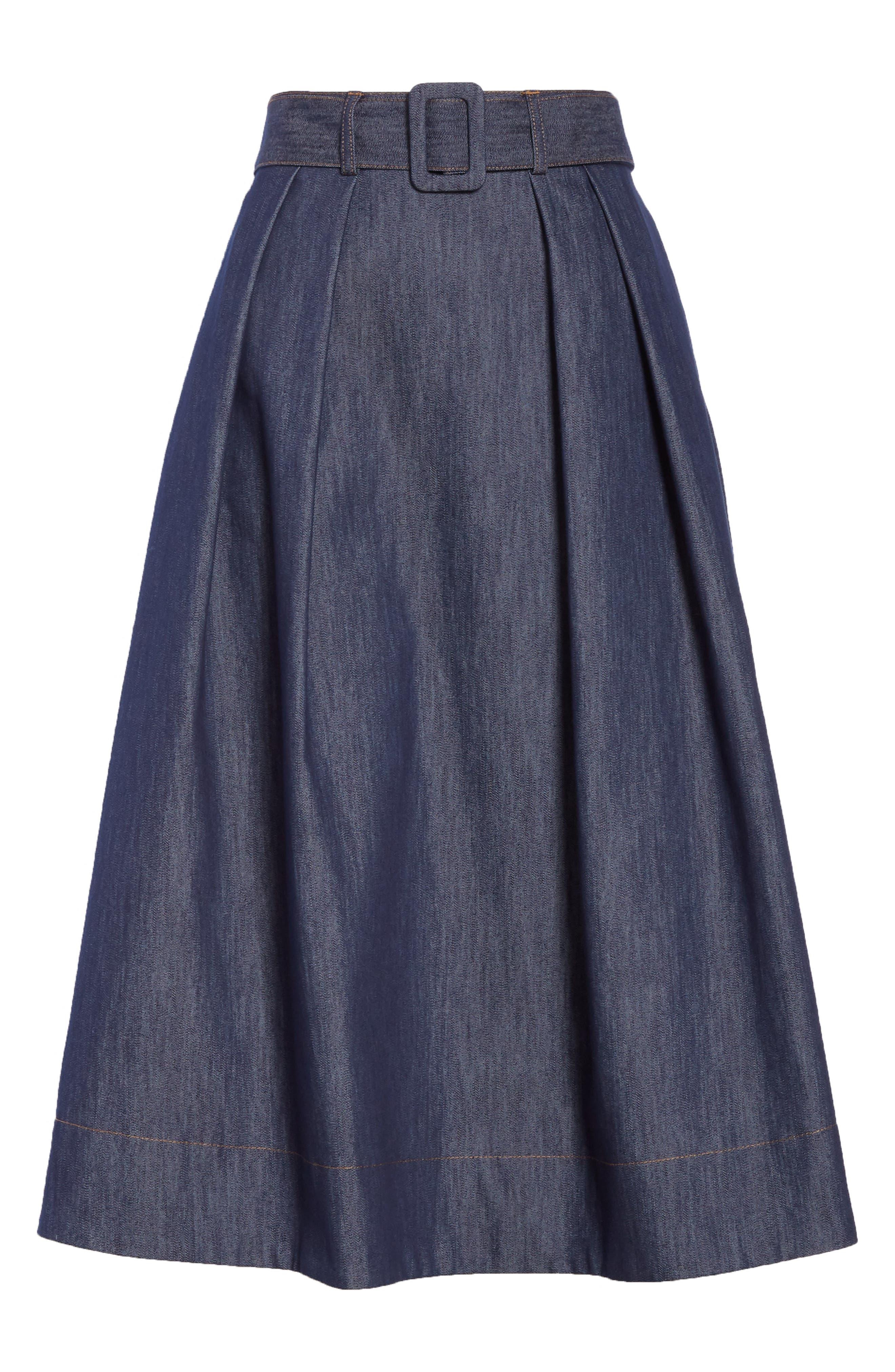 TOMMY X ZENDAYA, Belted Denim Skirt, Alternate thumbnail 6, color, 402