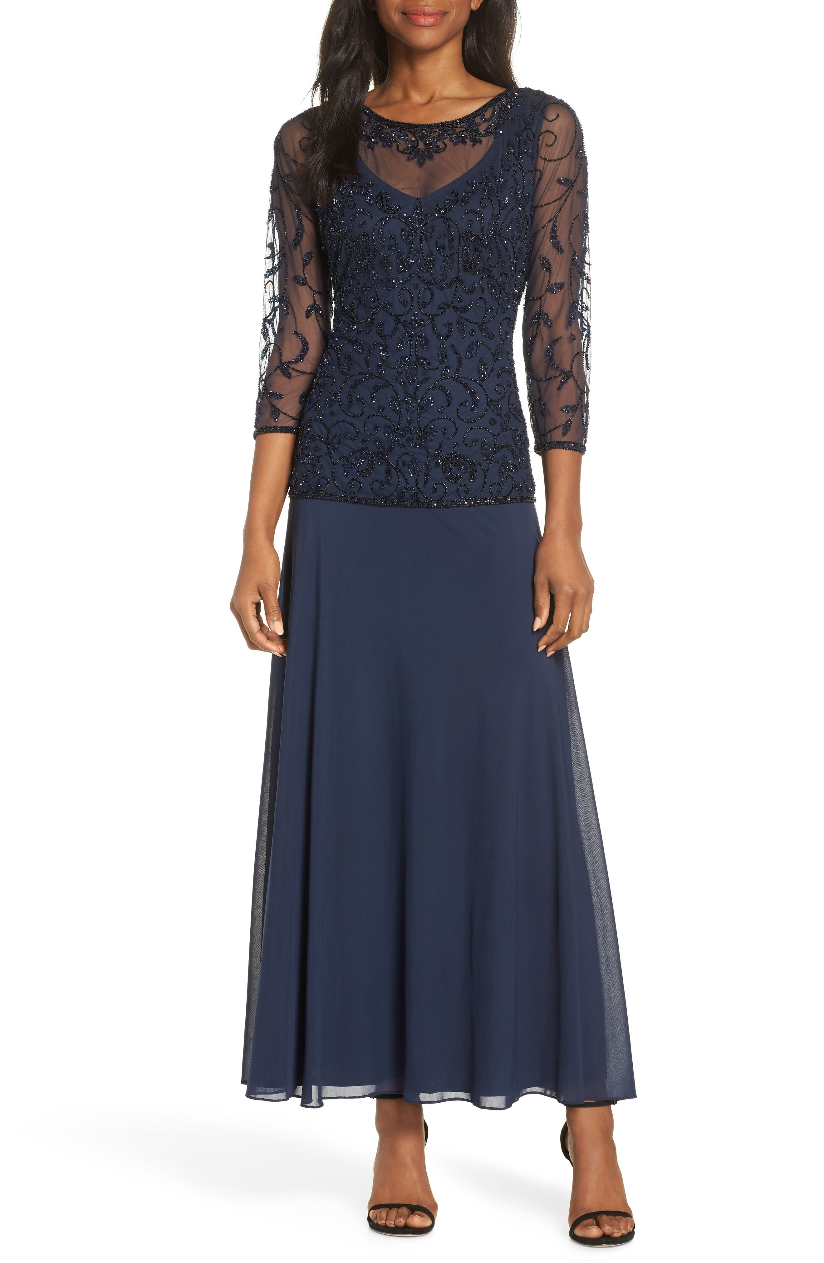 PISARRO NIGHTS Beaded Mesh Mock Two-Piece Gown, Main, color, NAVY/ BLACK