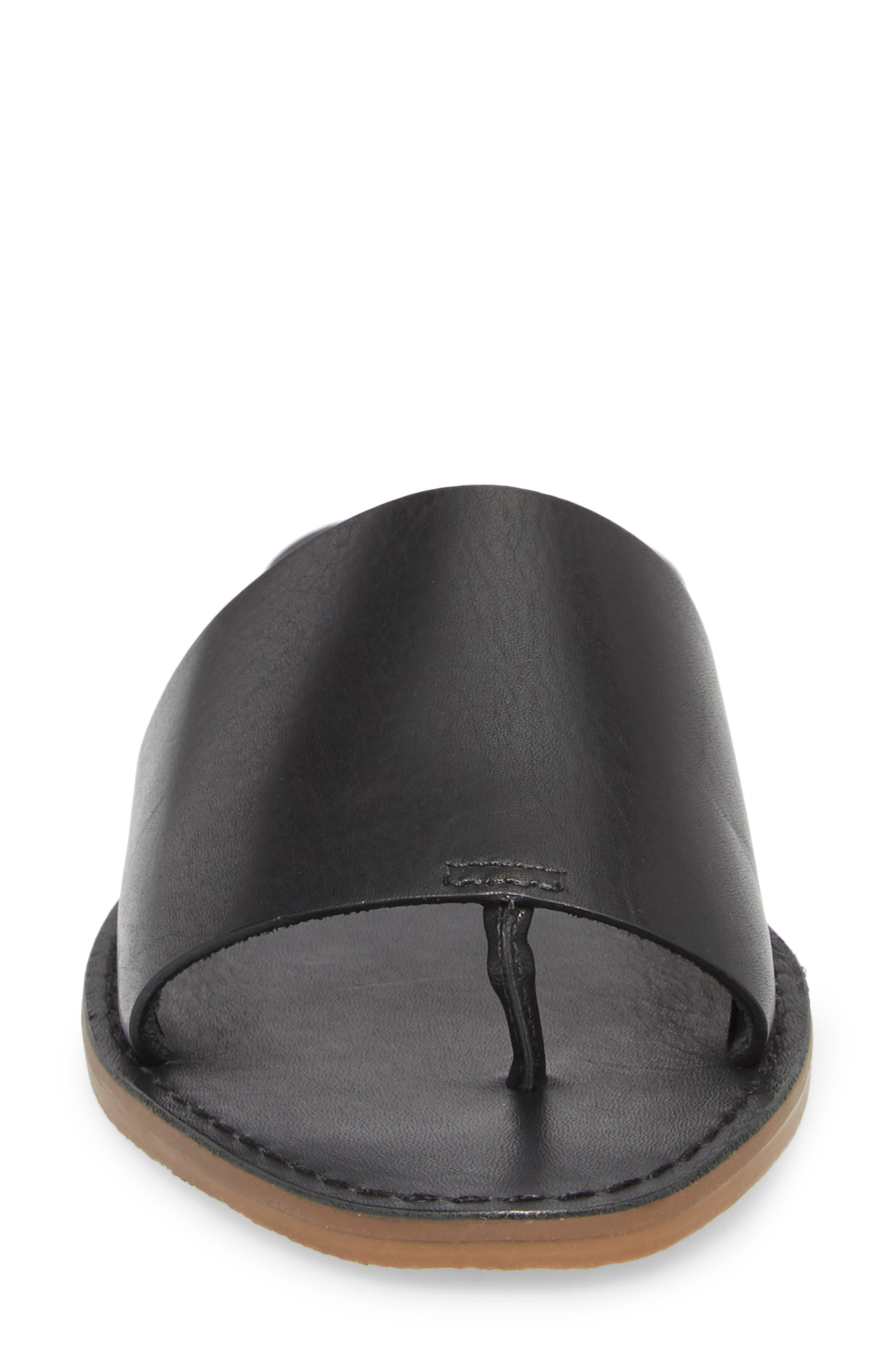 MADEWELL, Boardwalk Post Slide Sandal, Alternate thumbnail 4, color, TRUE BLACK LEATHER