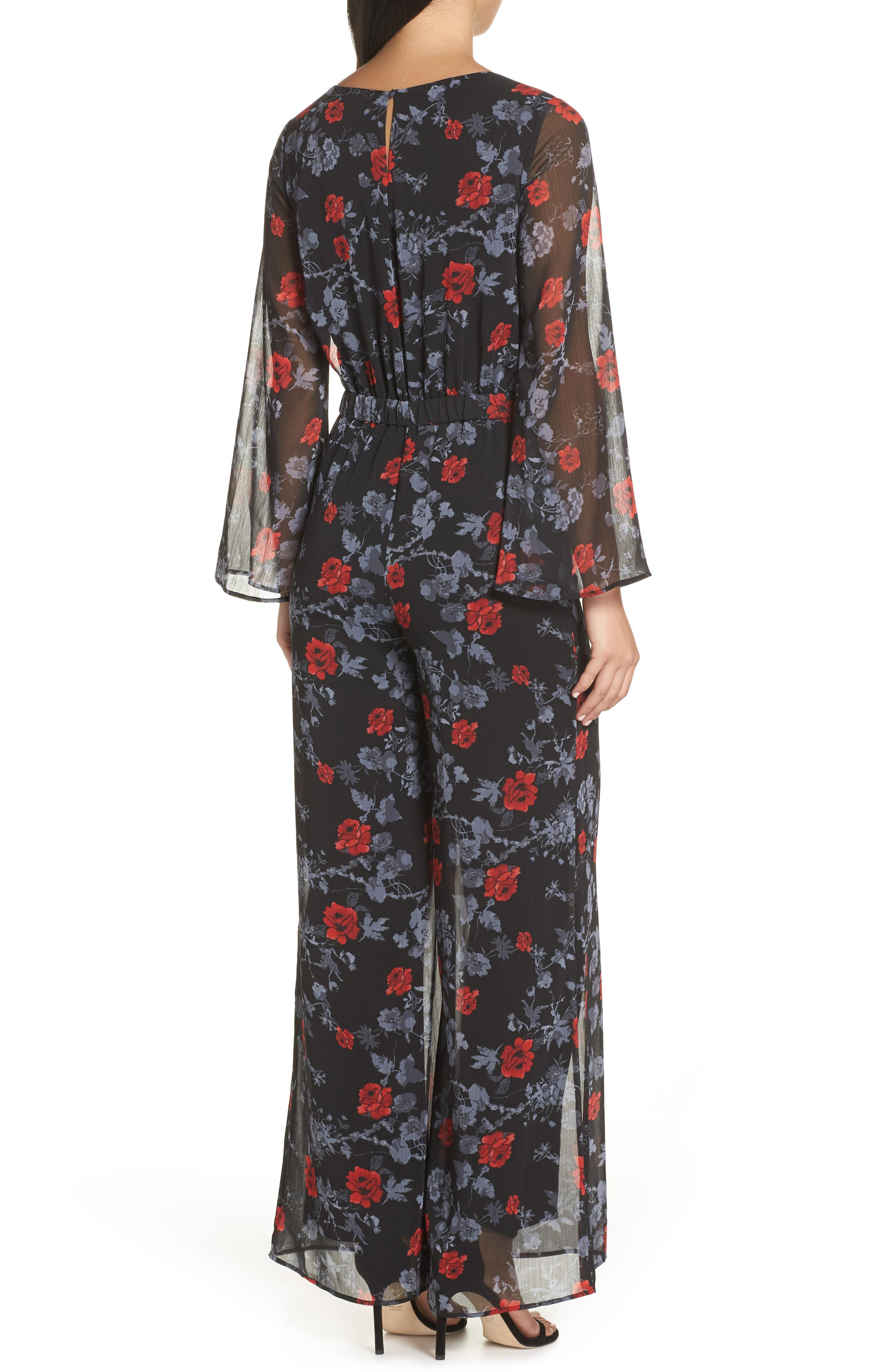 ALI & JAY, Only Wish Floral Jumpsuit, Alternate thumbnail 2, color, 001