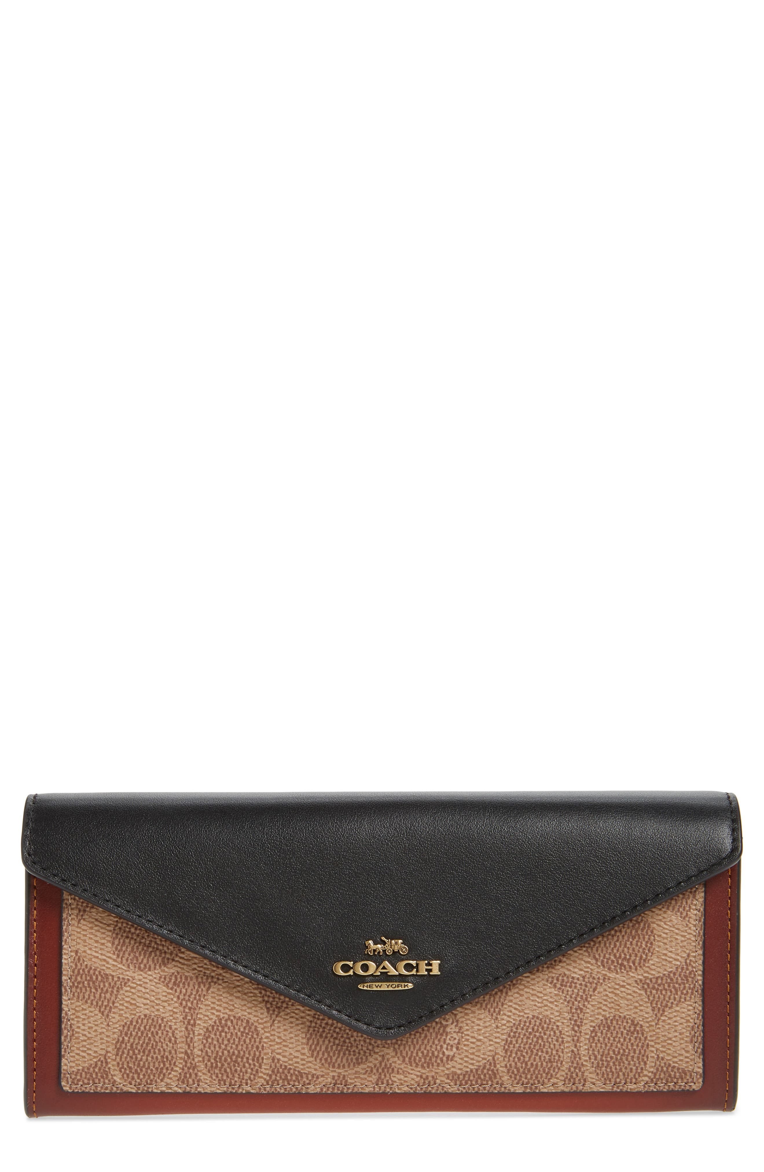 COACH, Colorblock Leather & Coated Canvas Wallet, Main thumbnail 1, color, TAN BLACK