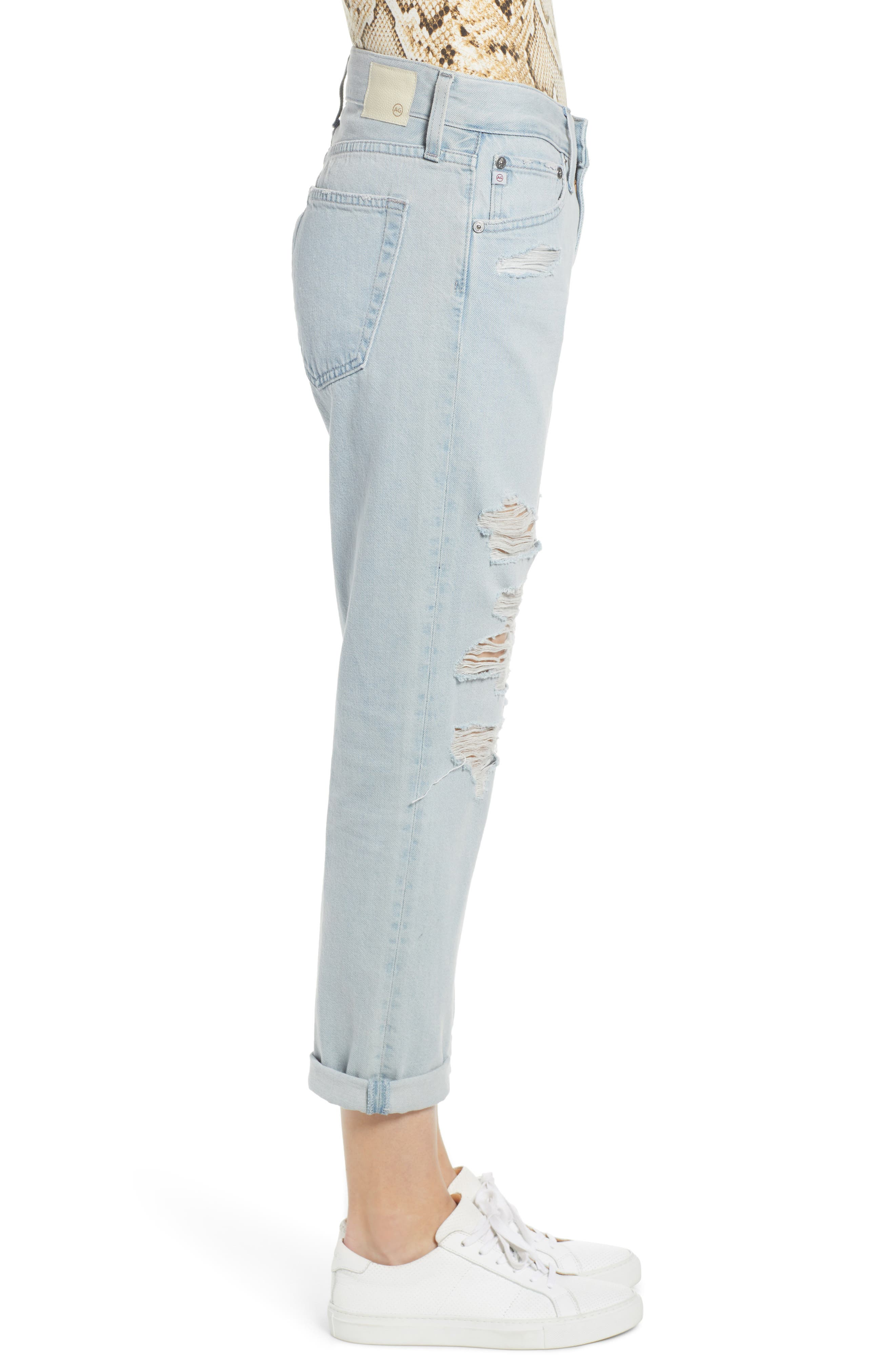 AG, Ex-Boyfriend Ripped Slouchy Ankle Slim Jeans, Alternate thumbnail 4, color, 25 YEARS DEEP DUST