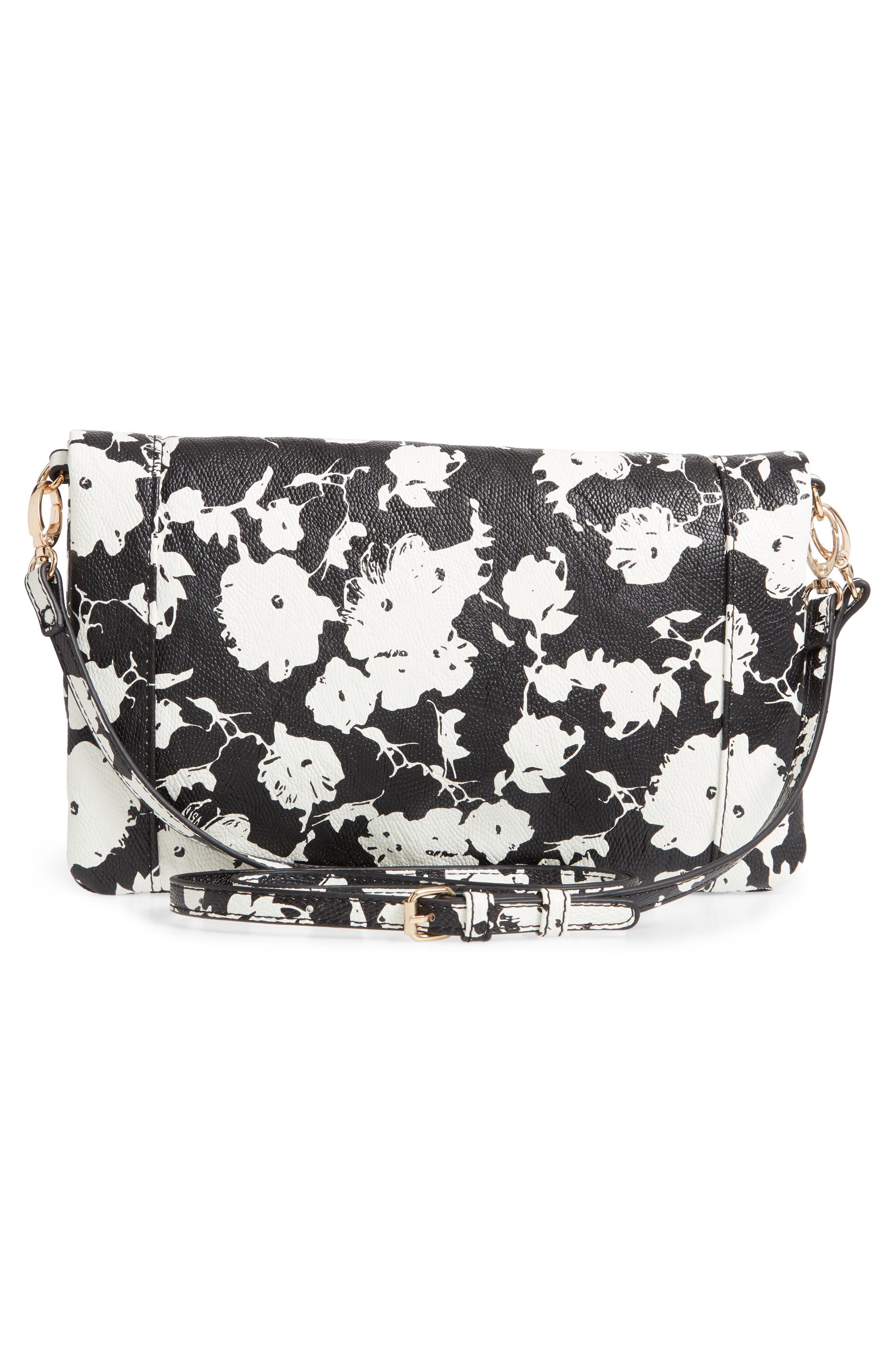 SOLE SOCIETY, 'Tasia' Print Foldover Clutch, Alternate thumbnail 4, color, BLACK FLORAL