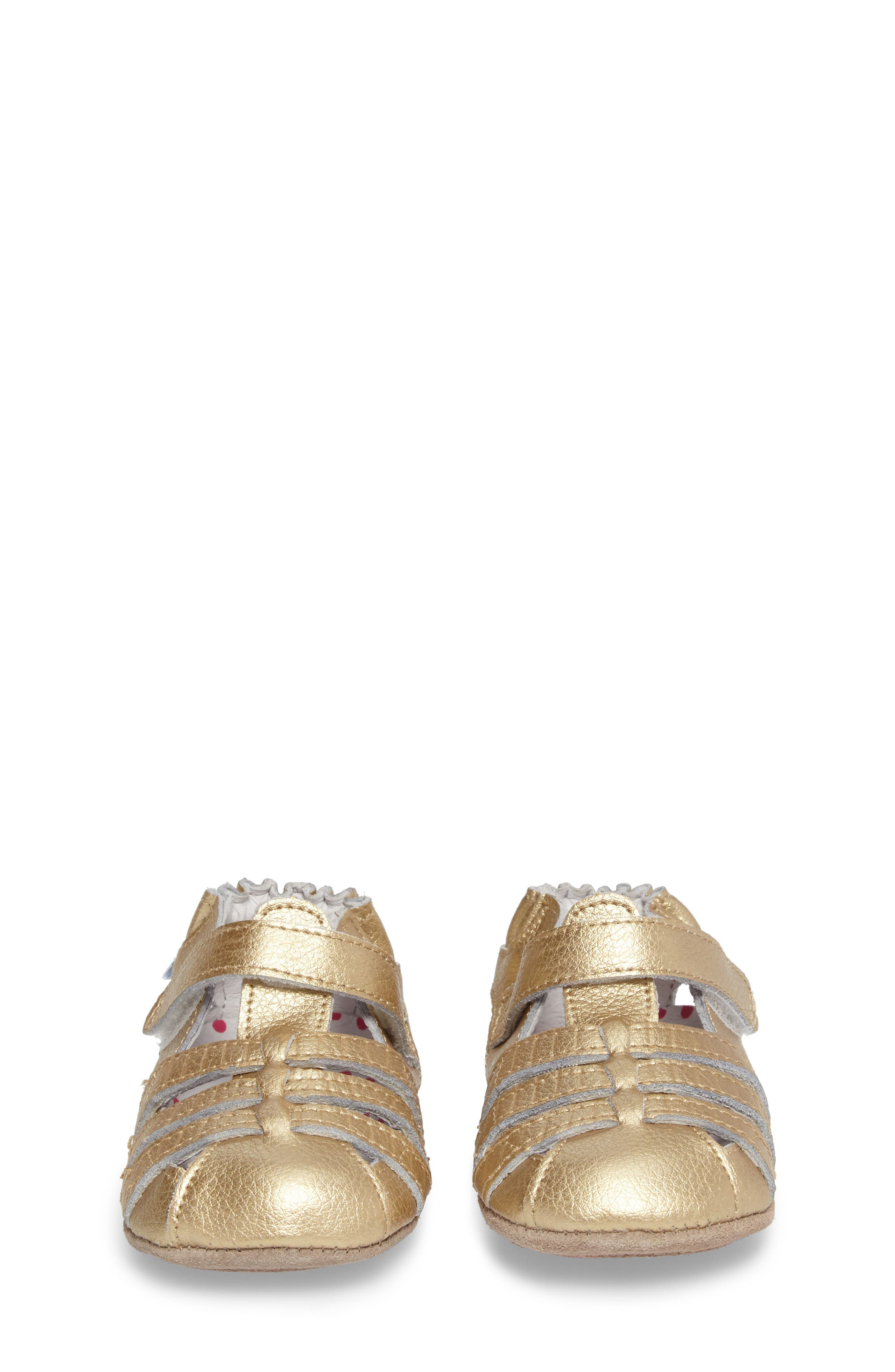 ROBEEZ<SUP>®</SUP>, Paris Crib Shoe, Alternate thumbnail 4, color, GOLD
