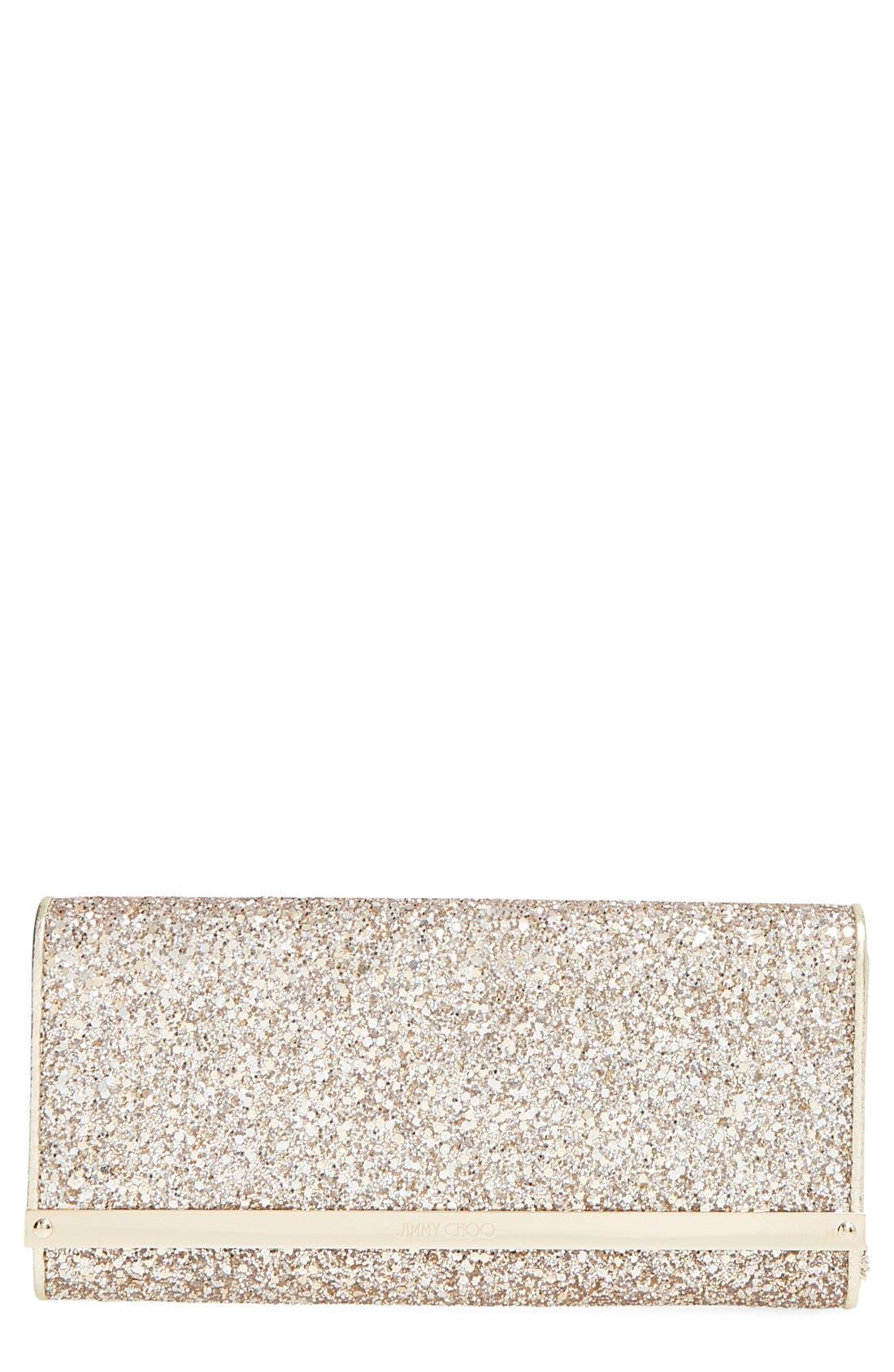 JIMMY CHOO, 'Milla' Glitter Clutch, Main thumbnail 1, color, 250