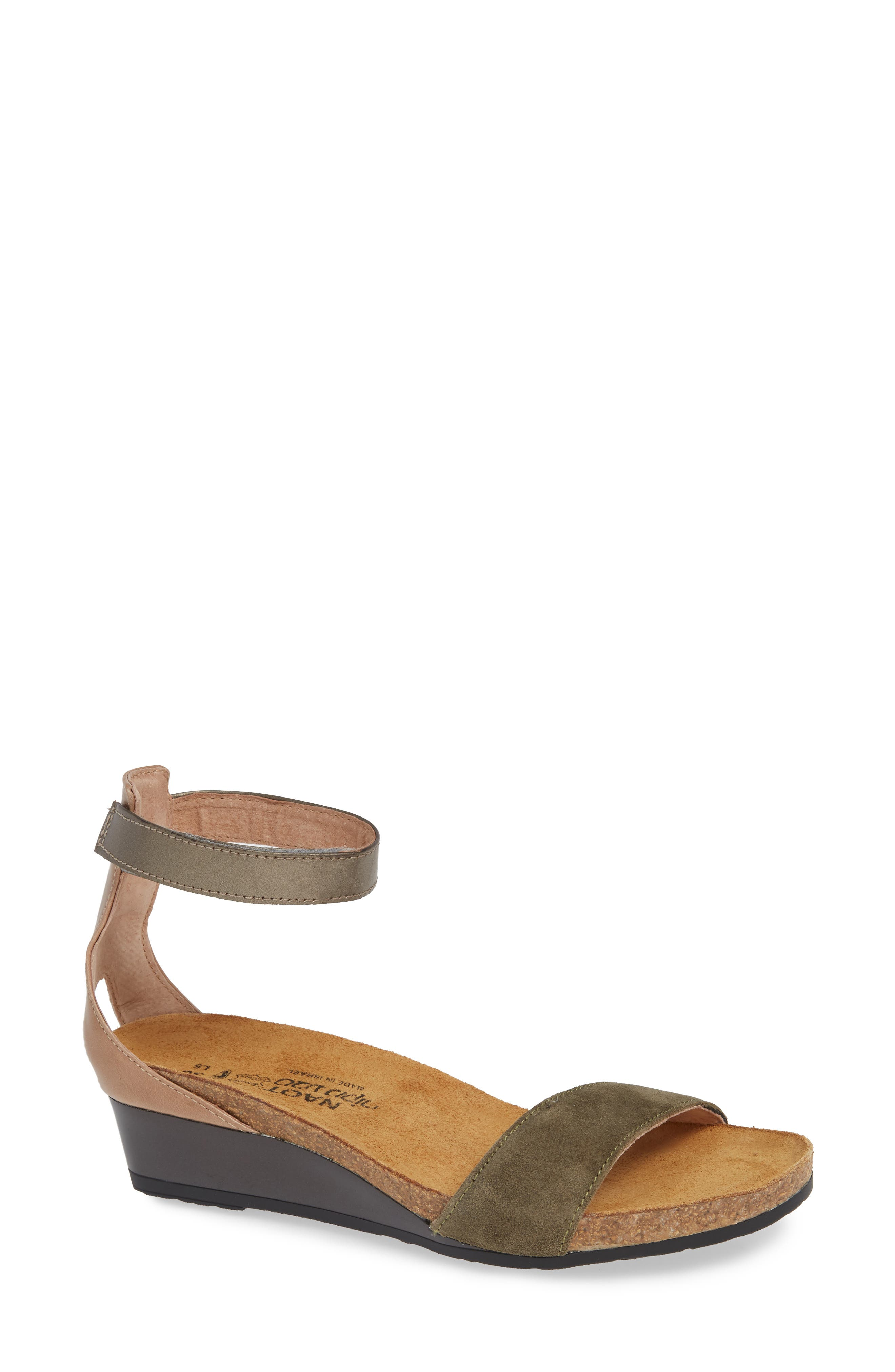 NAOT, 'Pixie' Sandal, Main thumbnail 1, color, OLIVE SUEDE/ PEWTER LEATHER