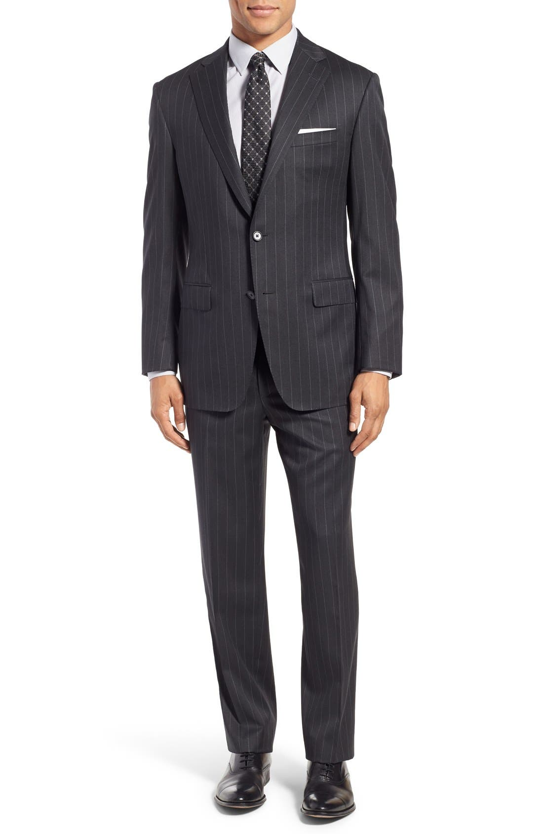 SAMUELSOHN, Classic Fit Stripe Wool Suit, Main thumbnail 1, color, 025