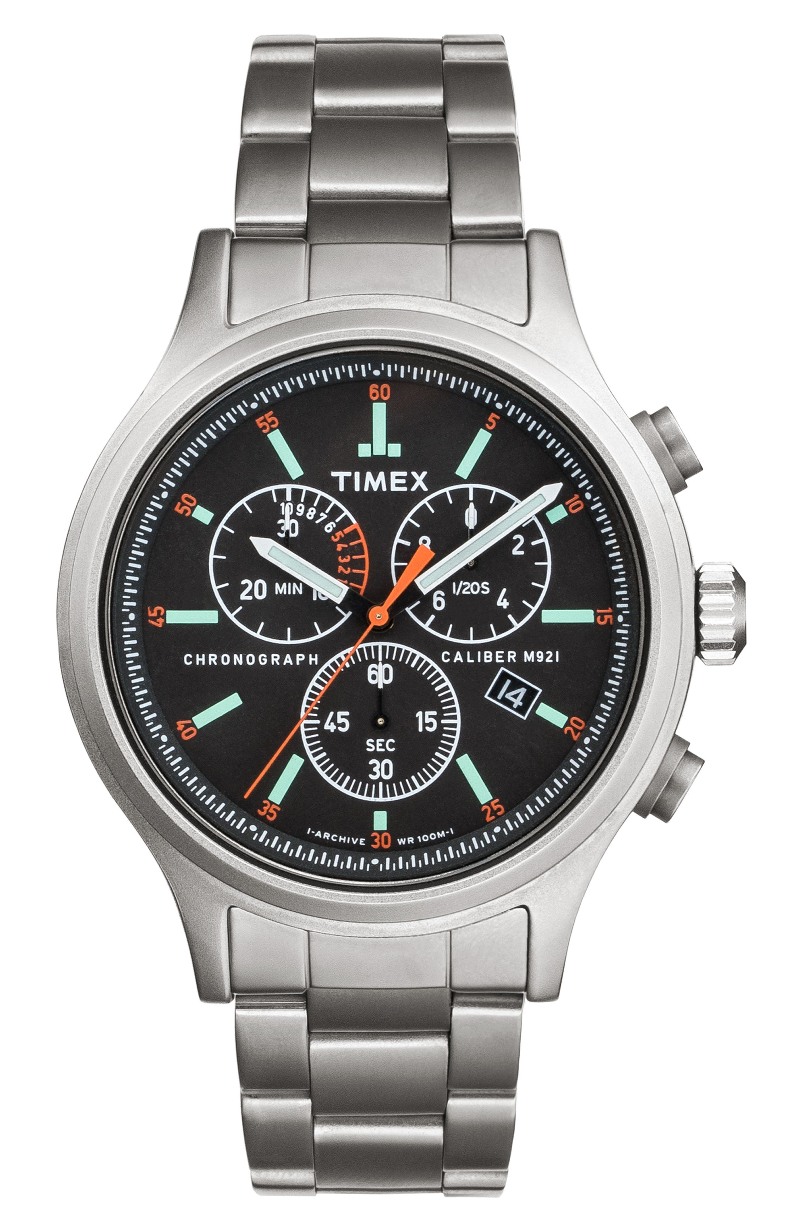 TIMEX<SUP>®</SUP> ARCHIVE, Allied Chronograph Bracelet Watch, 42mm, Main thumbnail 1, color, STAINLESS STEEL/ BLACK