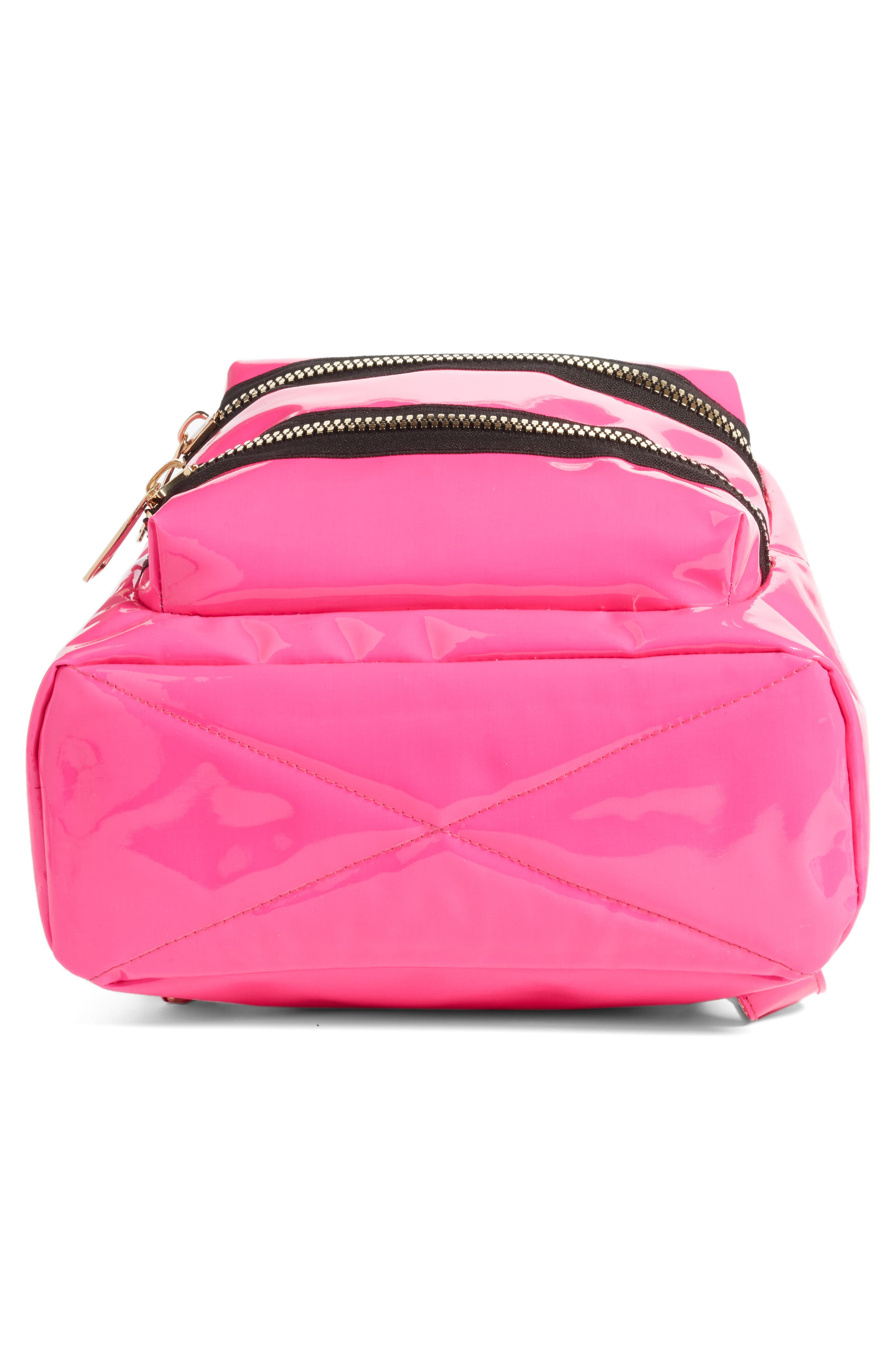 JANE & BERRY, Double Zip Faux Patent Leather Backpack, Alternate thumbnail 6, color, PINK
